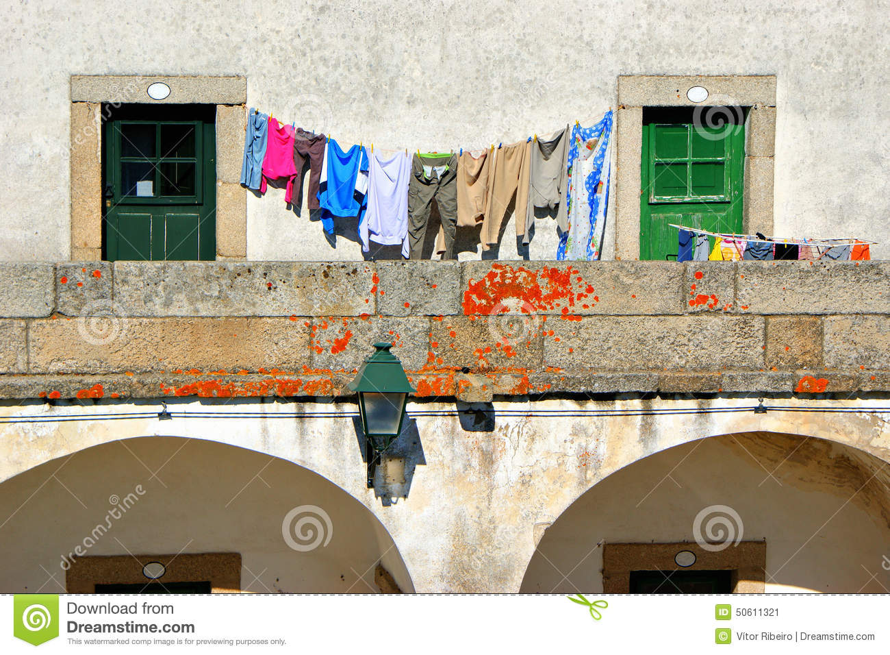 Drying clothes in Almeida historical village