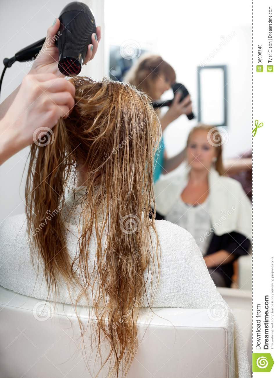 Drying Hair With Blow Dryer Stock Photos Image 36908743