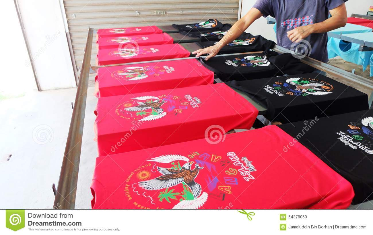 color printing malaysia : Color Printing Malaysia Drying The T Shirt After Printing Color Logo Editorial Image