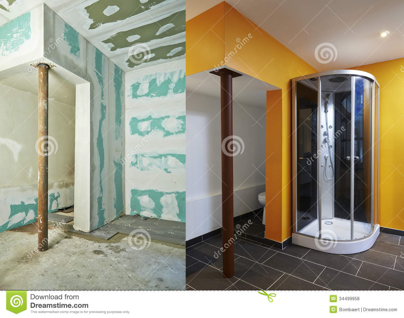 Drywall plasterboard and bathroom stock photo image of for Cloison salle de bain