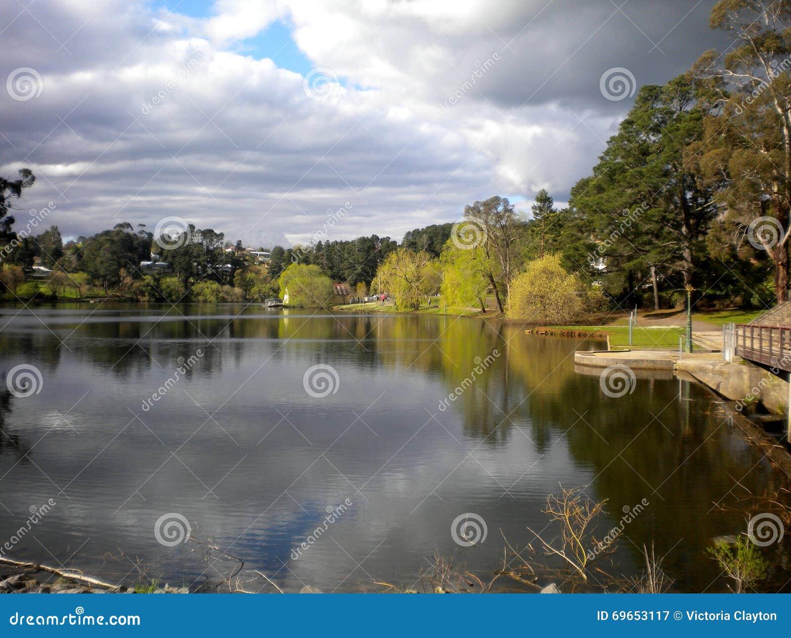 Drzewa i chmury odbicia w Daylesford jeziorze, Wiktoria, Australia