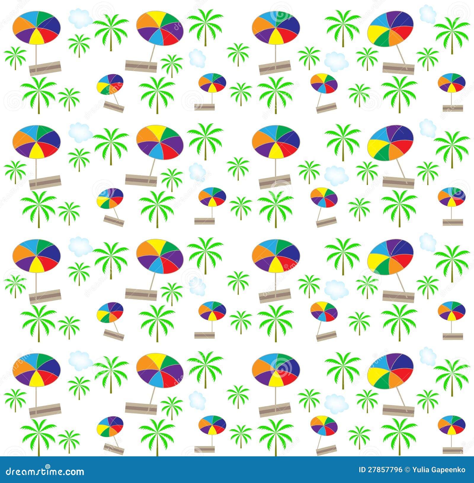 Drzewka palmowe, bezszwowy parasola wzór. Wektor