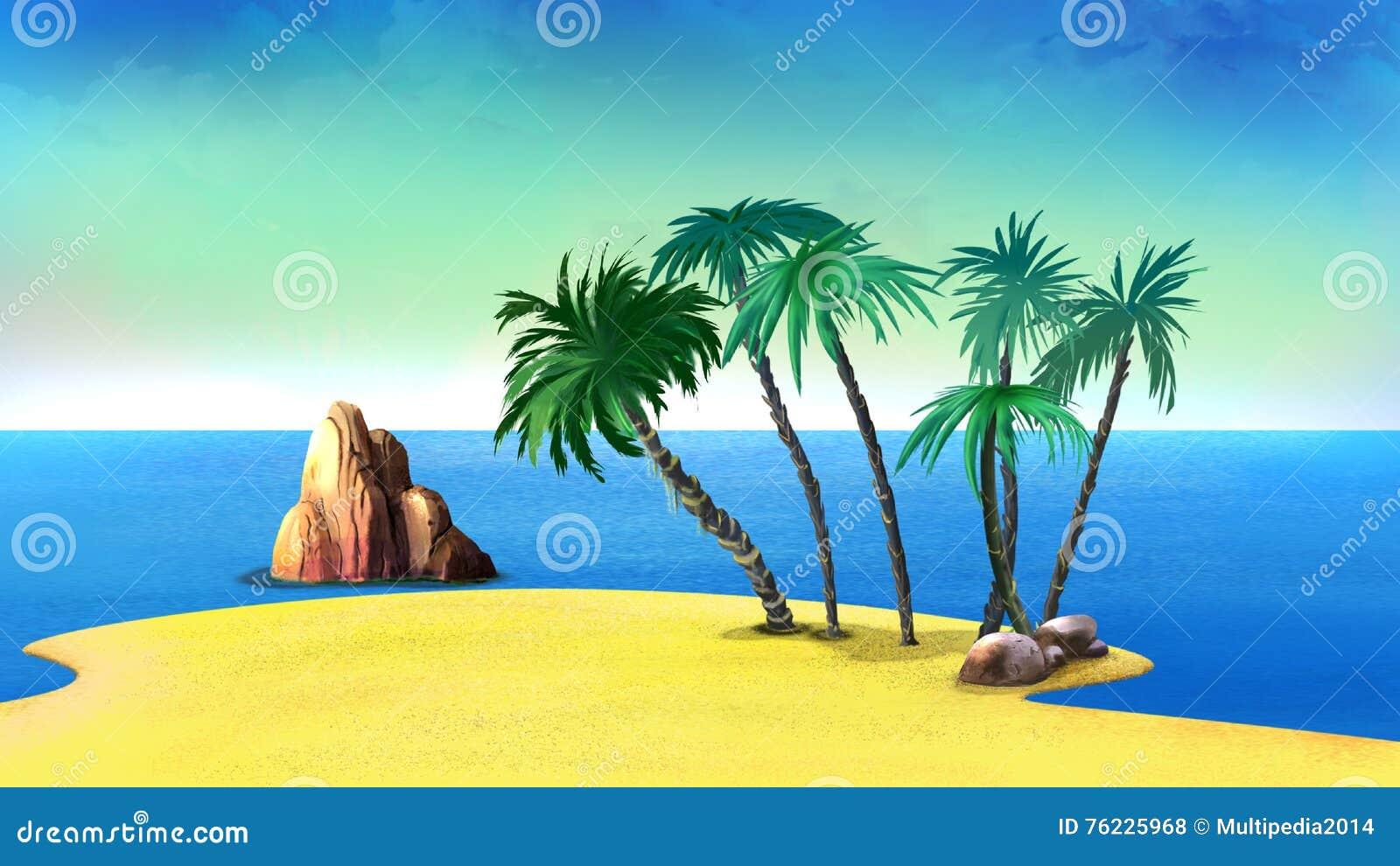Drzewka Palmowe na Opustoszałym wybrzeżu Tropikalna wyspa