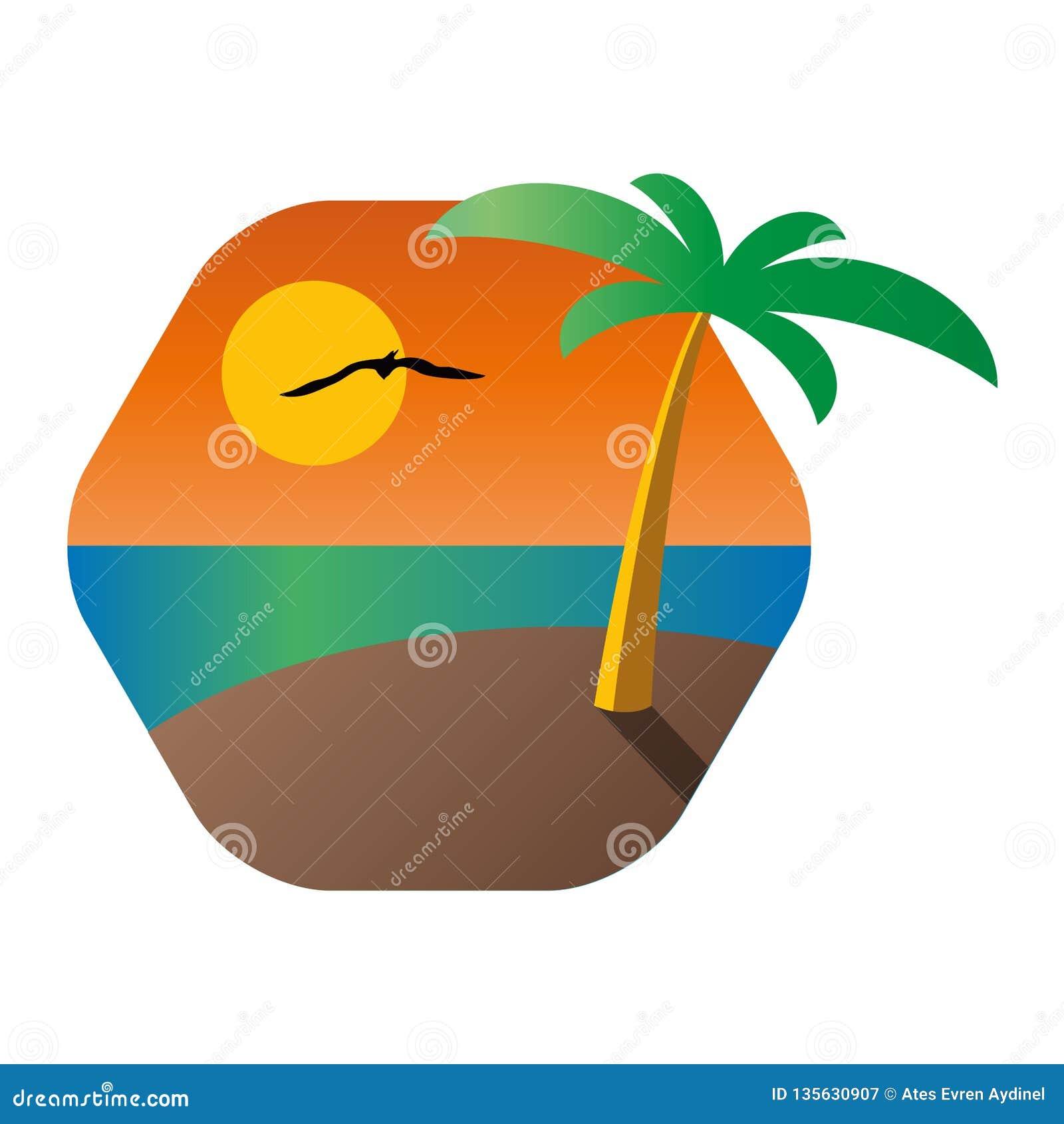 Drzewko palmowe na tropikalnej wyspie z tłem seascape