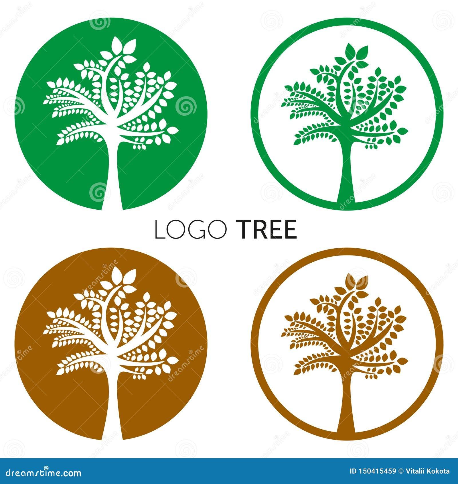 Drzewnego logo abstrakcjonistycznego projekta szablonu negatywu przestrzeni wektorowy styl Eco rośliny logotypu pojęcia Zielona O