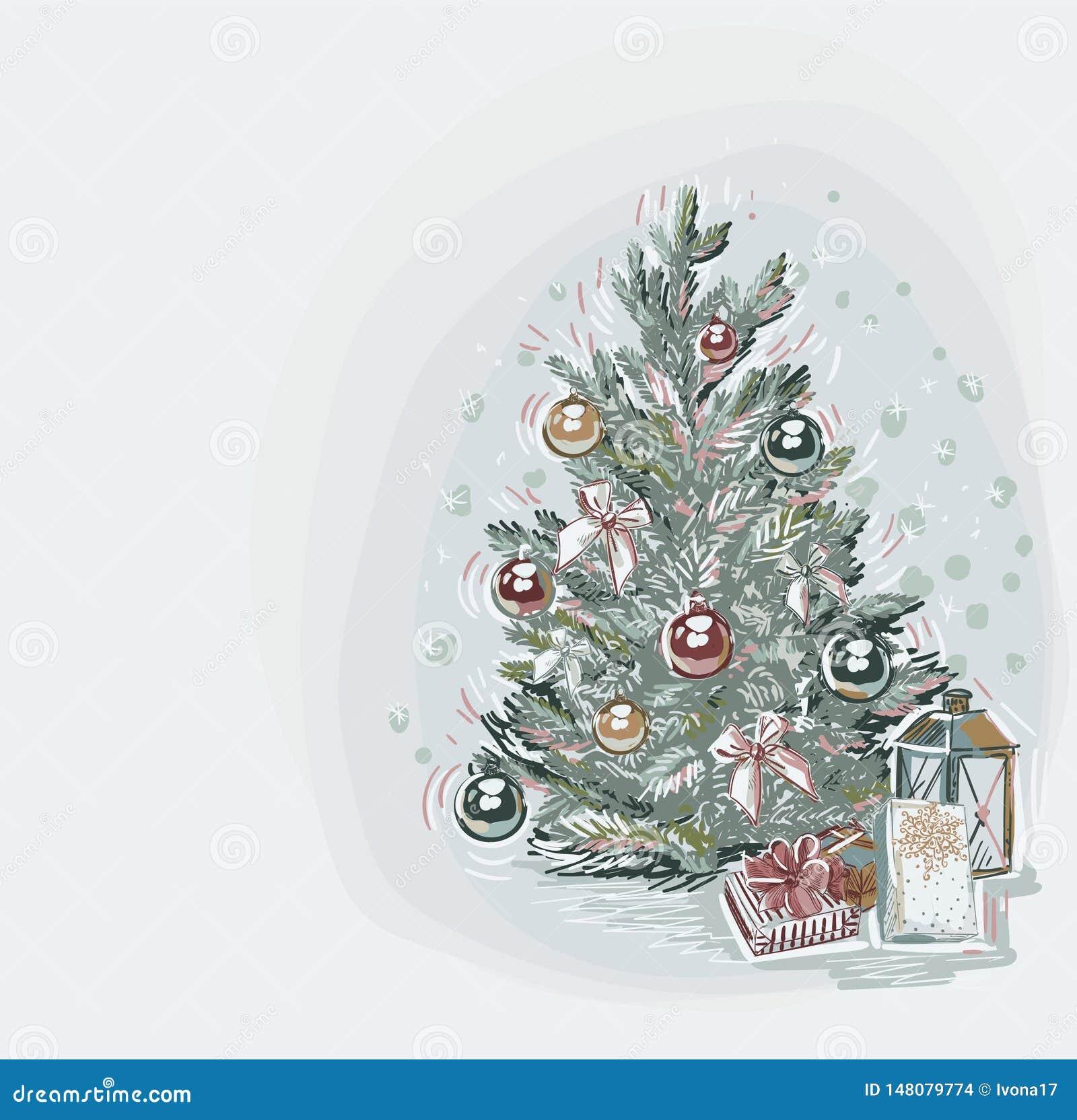 Drzewnego teraźniejszości kartki bożonarodzeniowej tła błękitnego wektorowego miękkiego koloru farby pastelowy styl