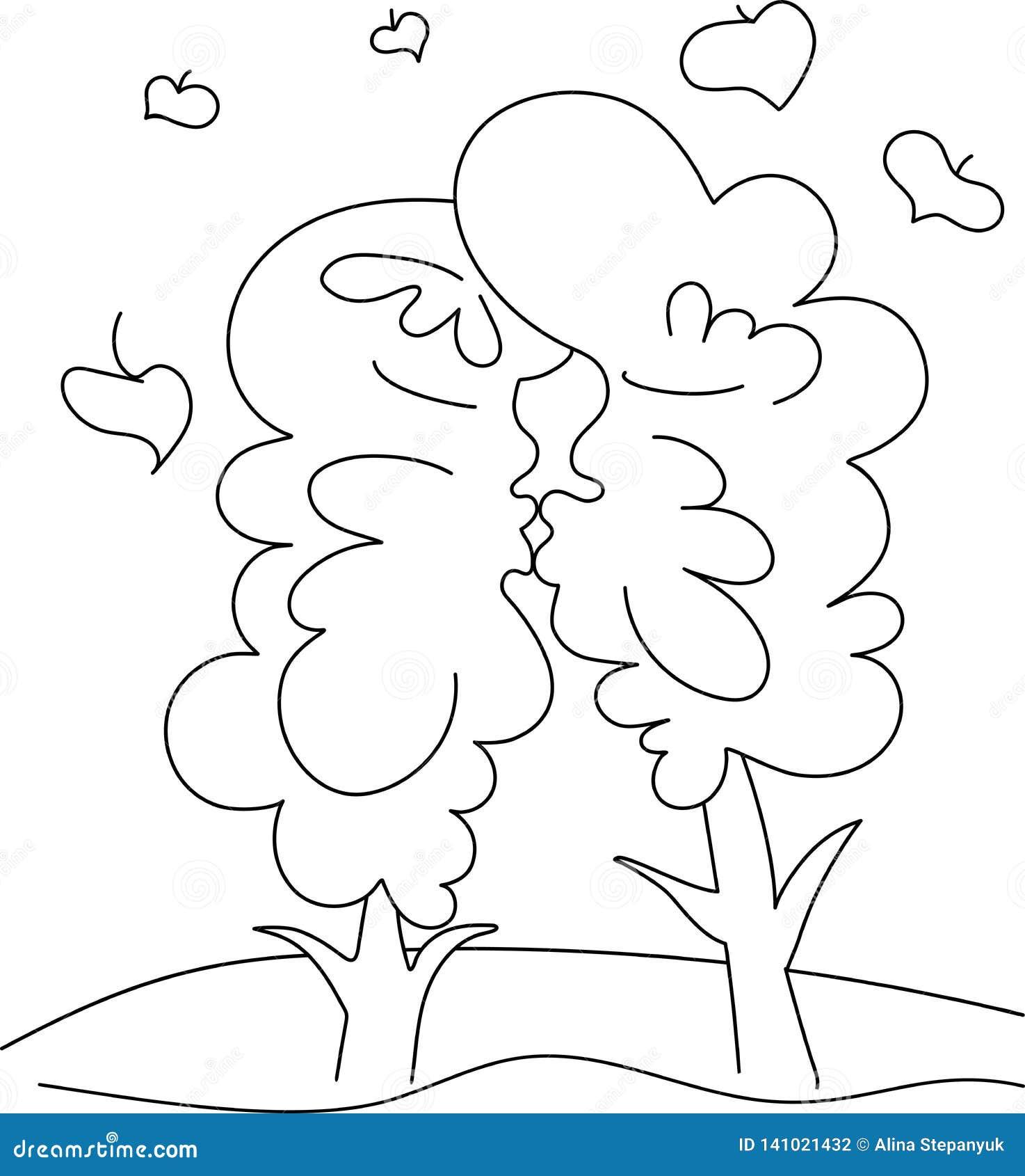 Drzewo buziak Obrazka czerni linia na białym tle humor