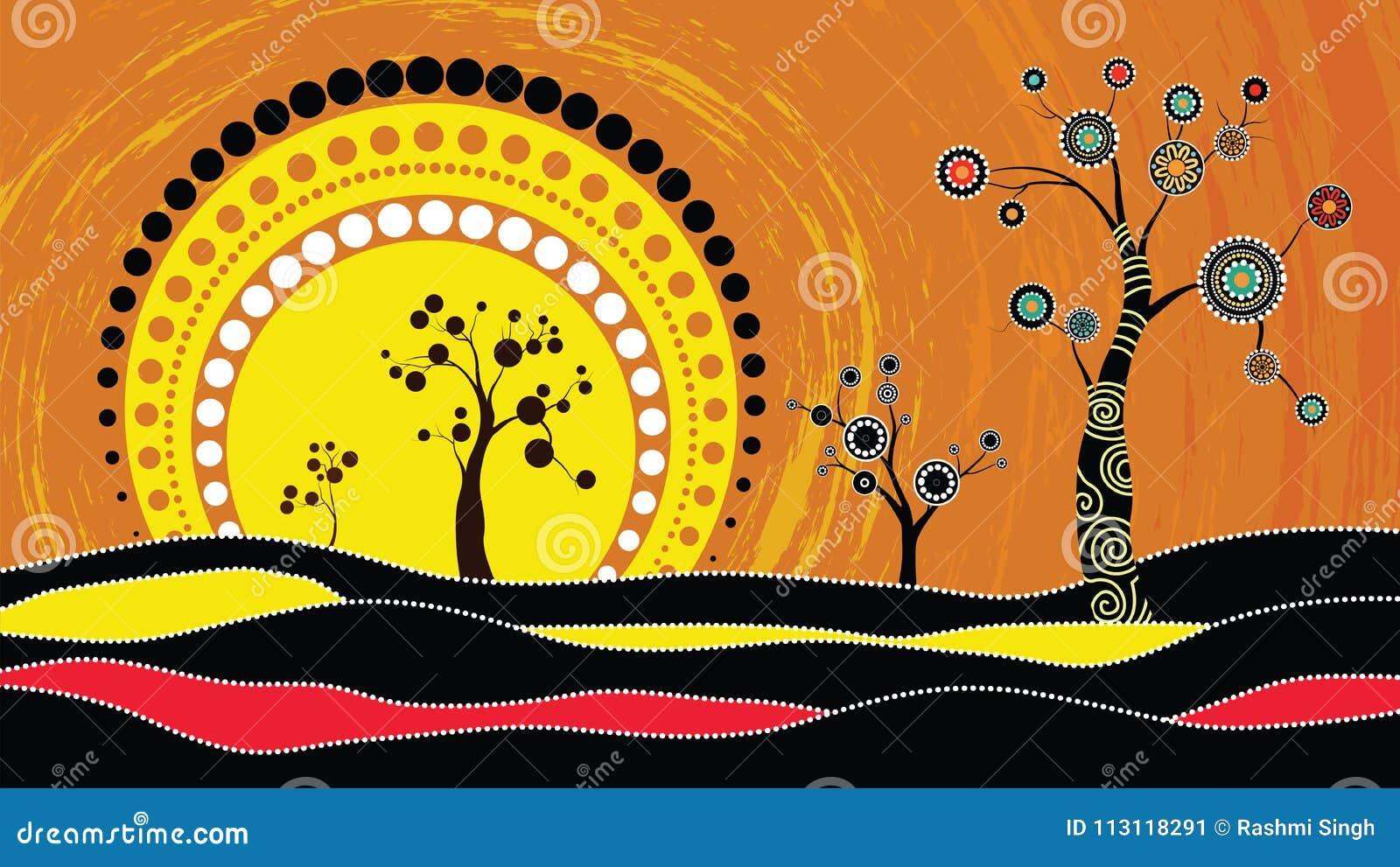Drzewo na wzgórzu, Tubylczy drzewo, Tubylczej sztuki wektorowy obraz z drzewem i słońce, Ilustracja opierająca się na aborygenu s
