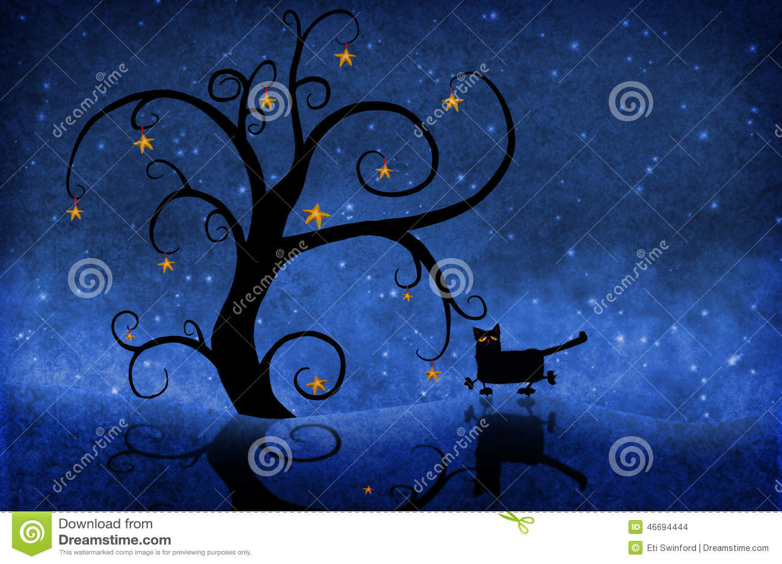Drzewo przy nocą z gwiazdami i kotem