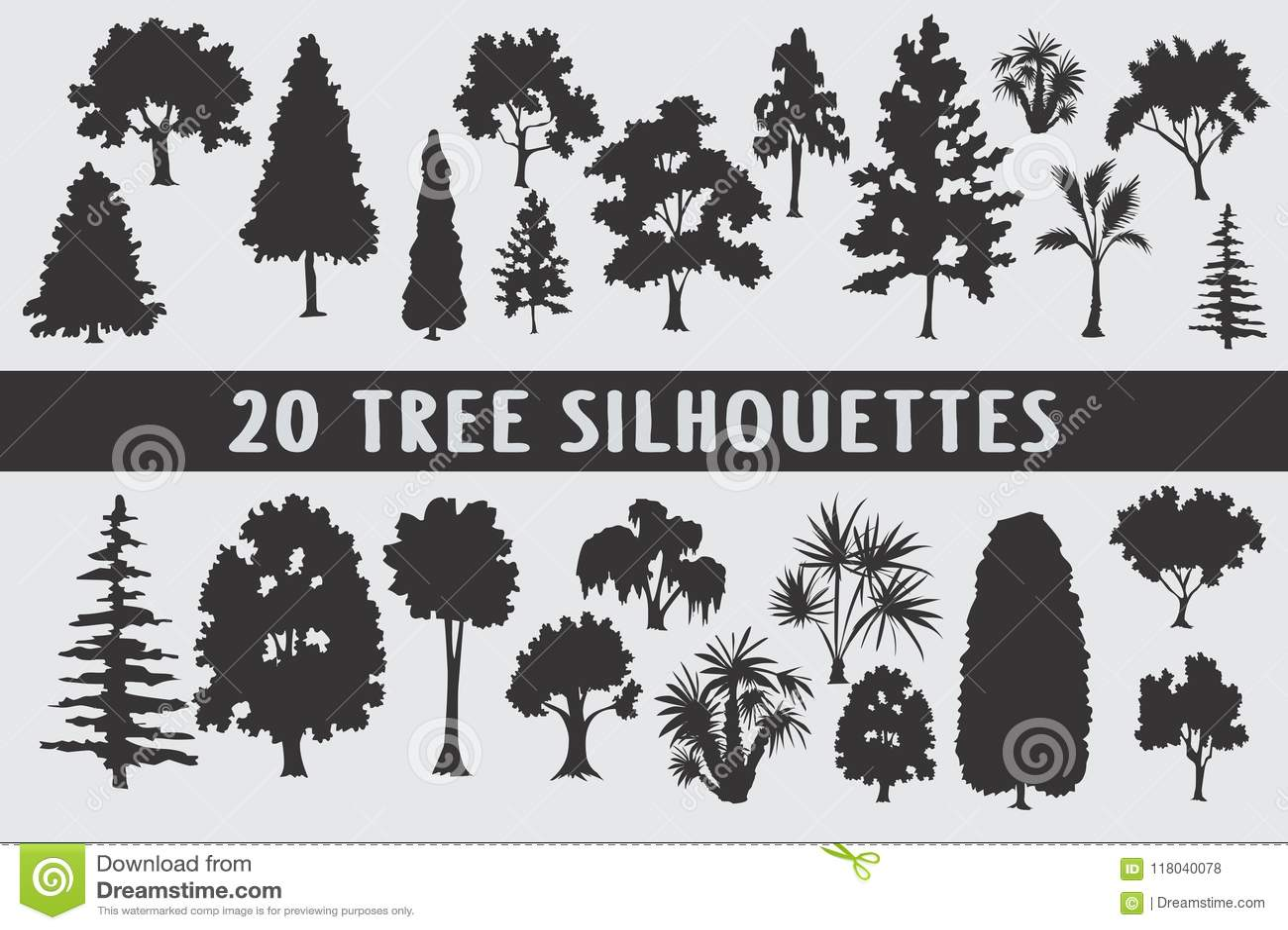20 drzewo sylwetek projekta różnorodny set