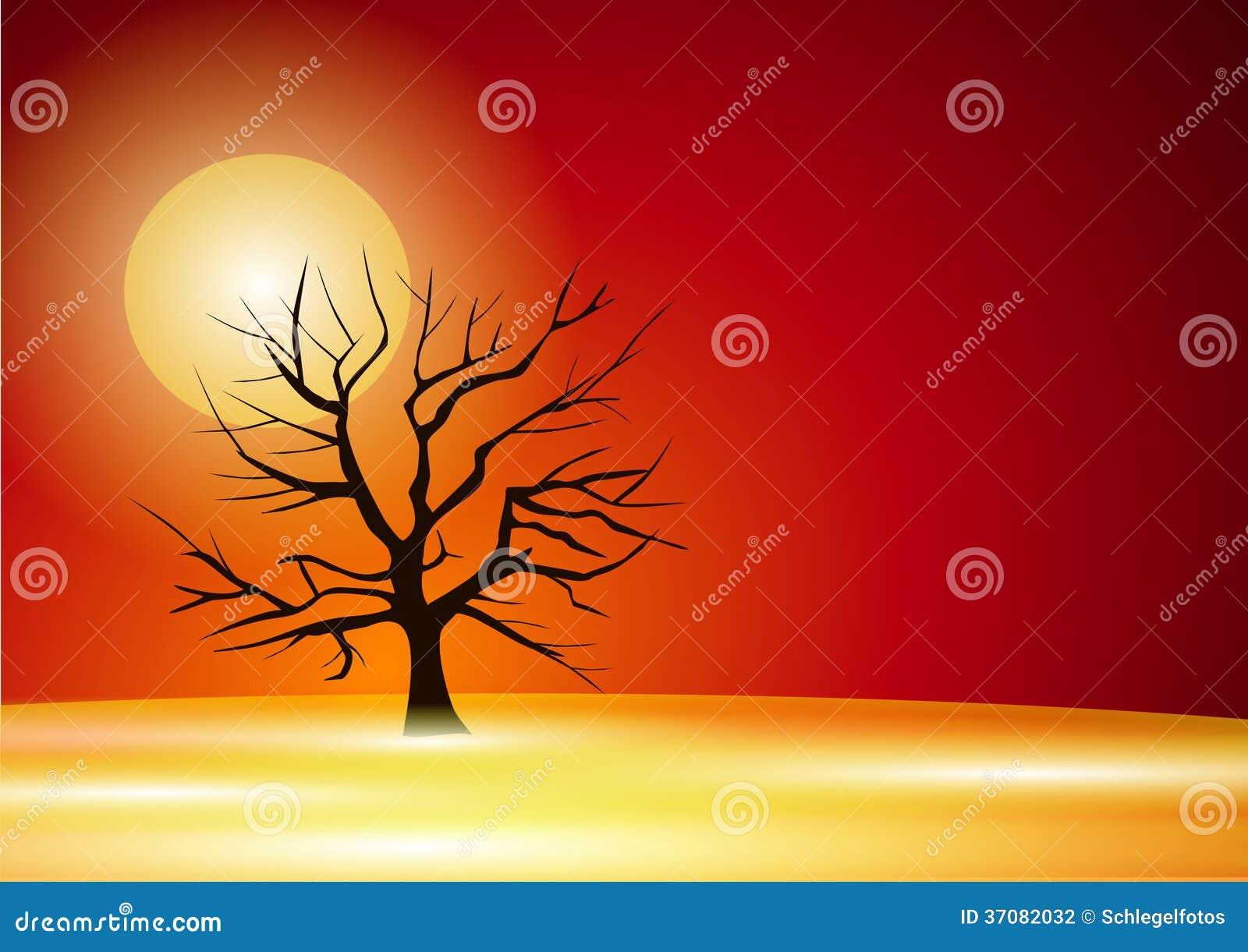 Download Drzewo w zmierzchu ilustracji. Ilustracja złożonej z zmierzch - 37082032