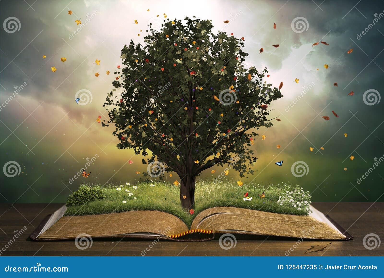 Drzewo z trawą na otwartej książce