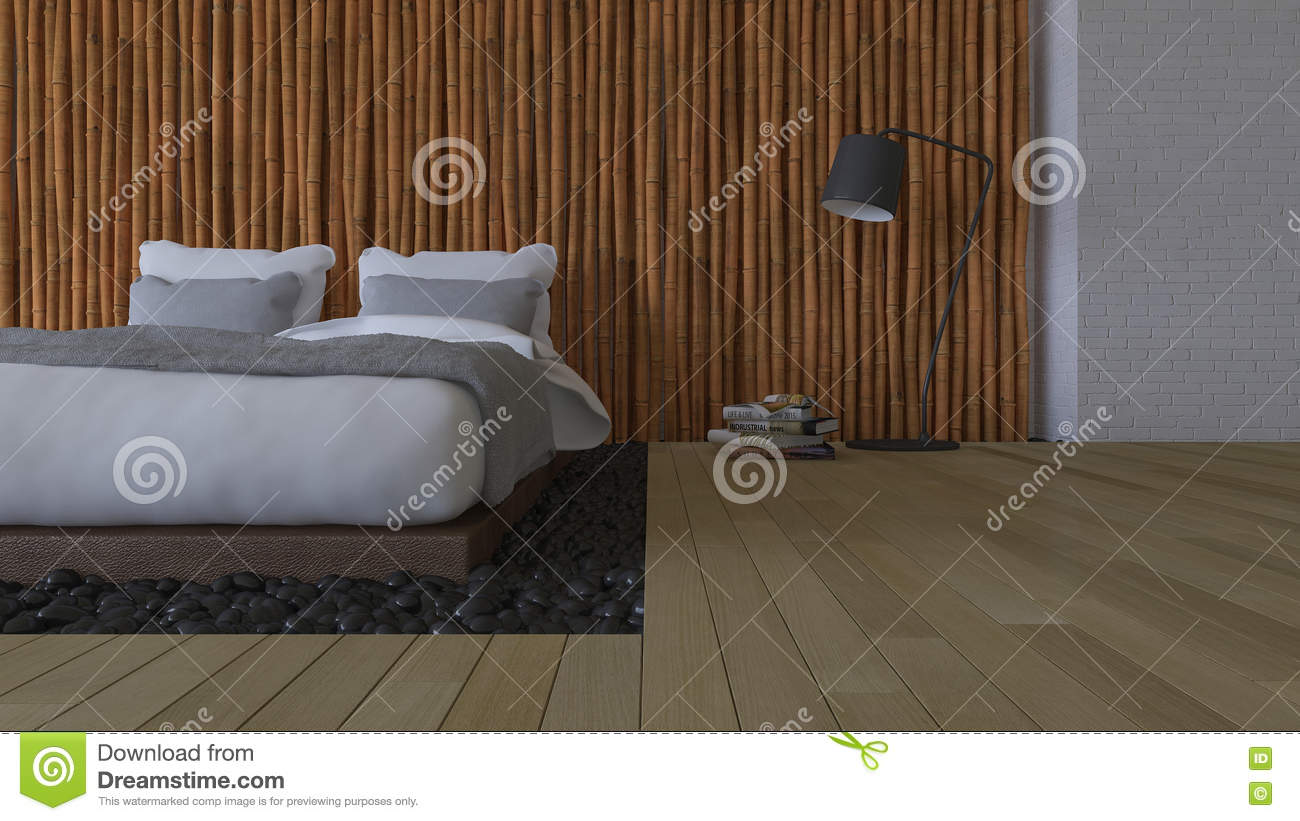 3ds Bed And Bamboo Wall Stock Illustration Illustration Of Beautiful 80106645