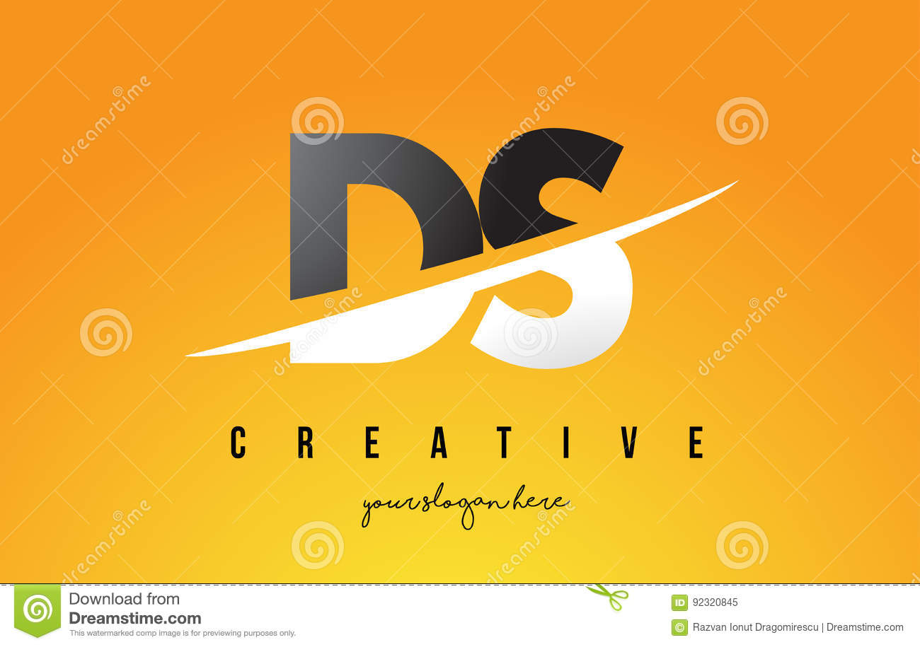 Ds D S Letter Modern Logo Design With Yellow Background And Swoosh Download Preview