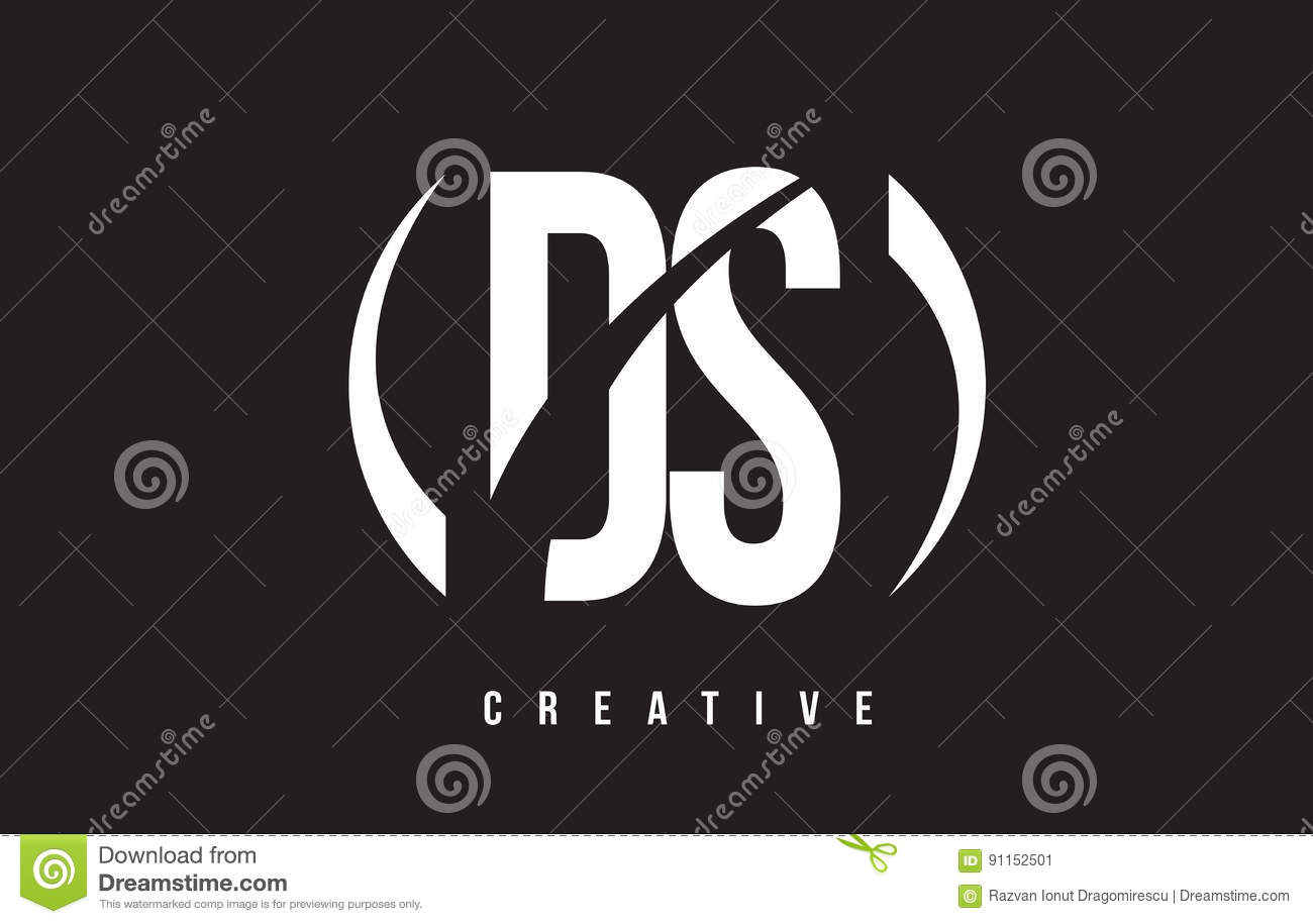 Ds D S White Letter Logo Design With Black Background Download Preview