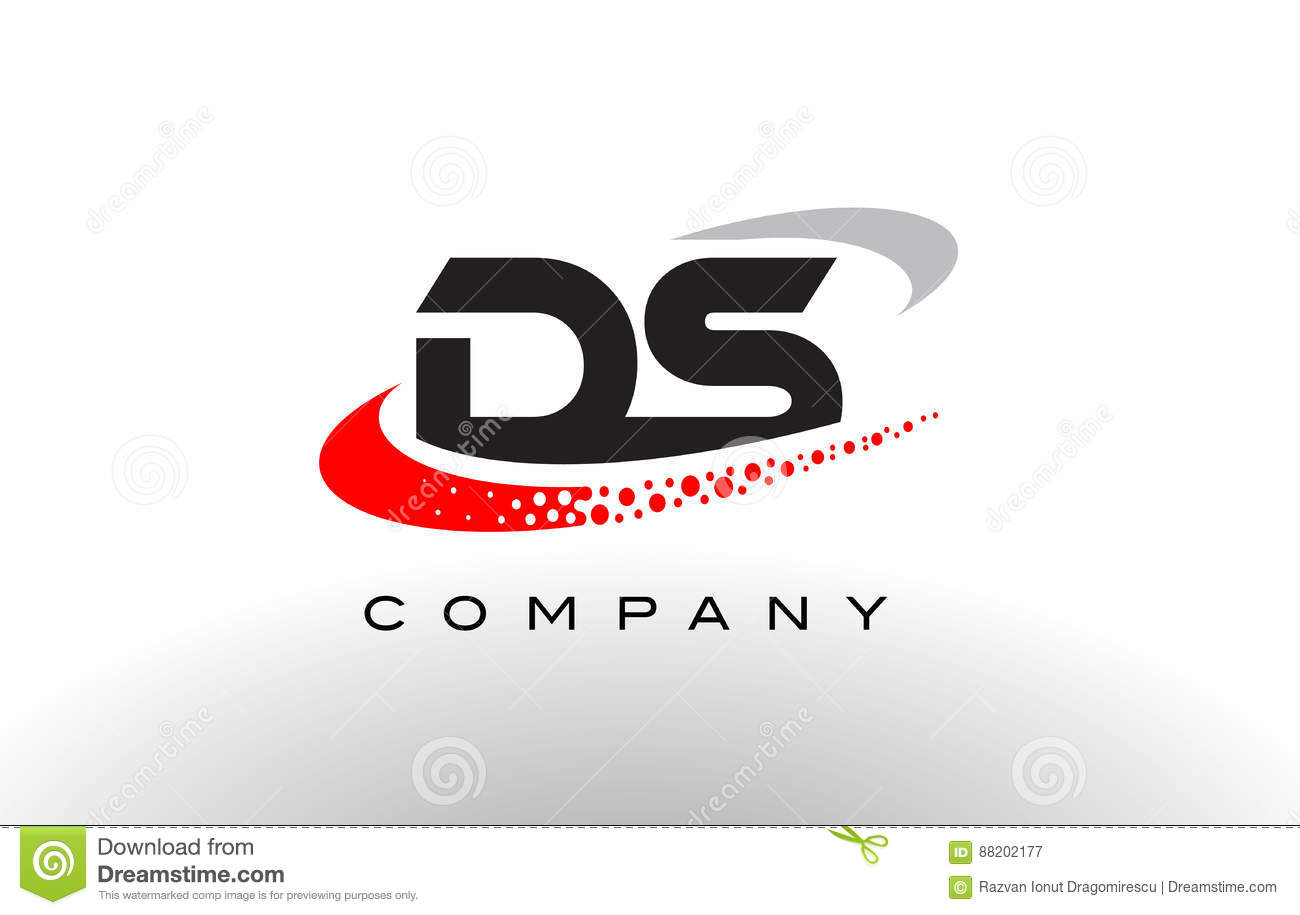 ds modern letter logo design with red dotted swoosh stock