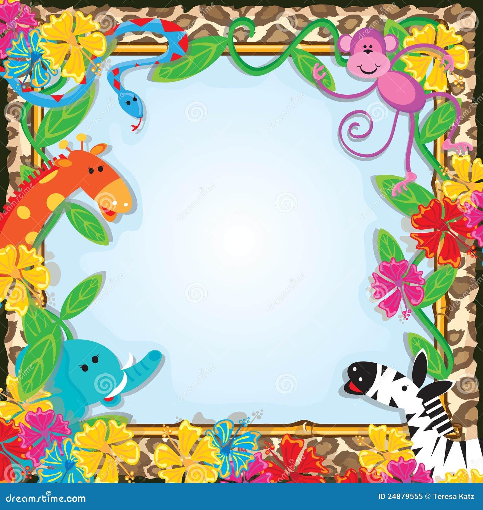 dschungel-zoo-party-einladung lizenzfreies stockfoto - bild: 24879555, Einladung