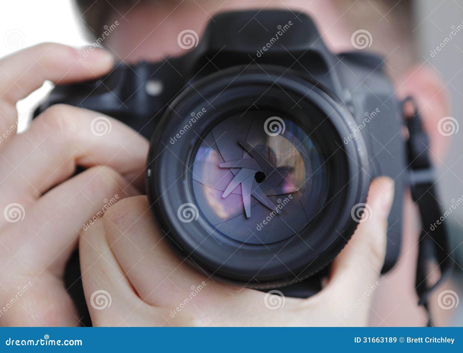 DSLR camera lens shutter