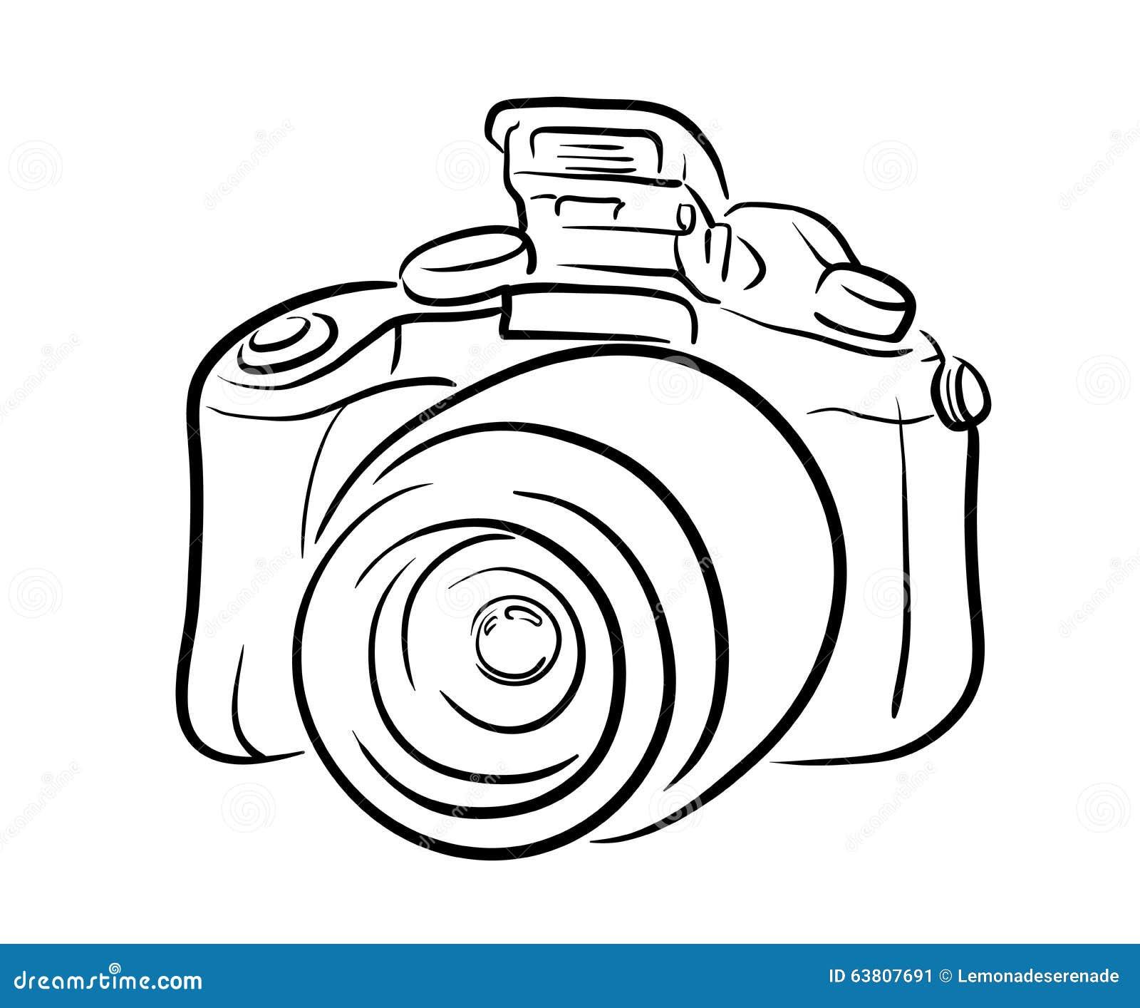 Line Art Vector Illustrator : Dslr camera line art stock vector image