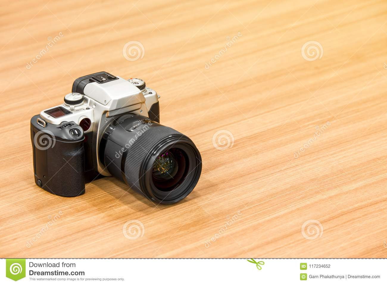Dslr Camera On Wooden Desk Background Stock Photo Image Of Dslr