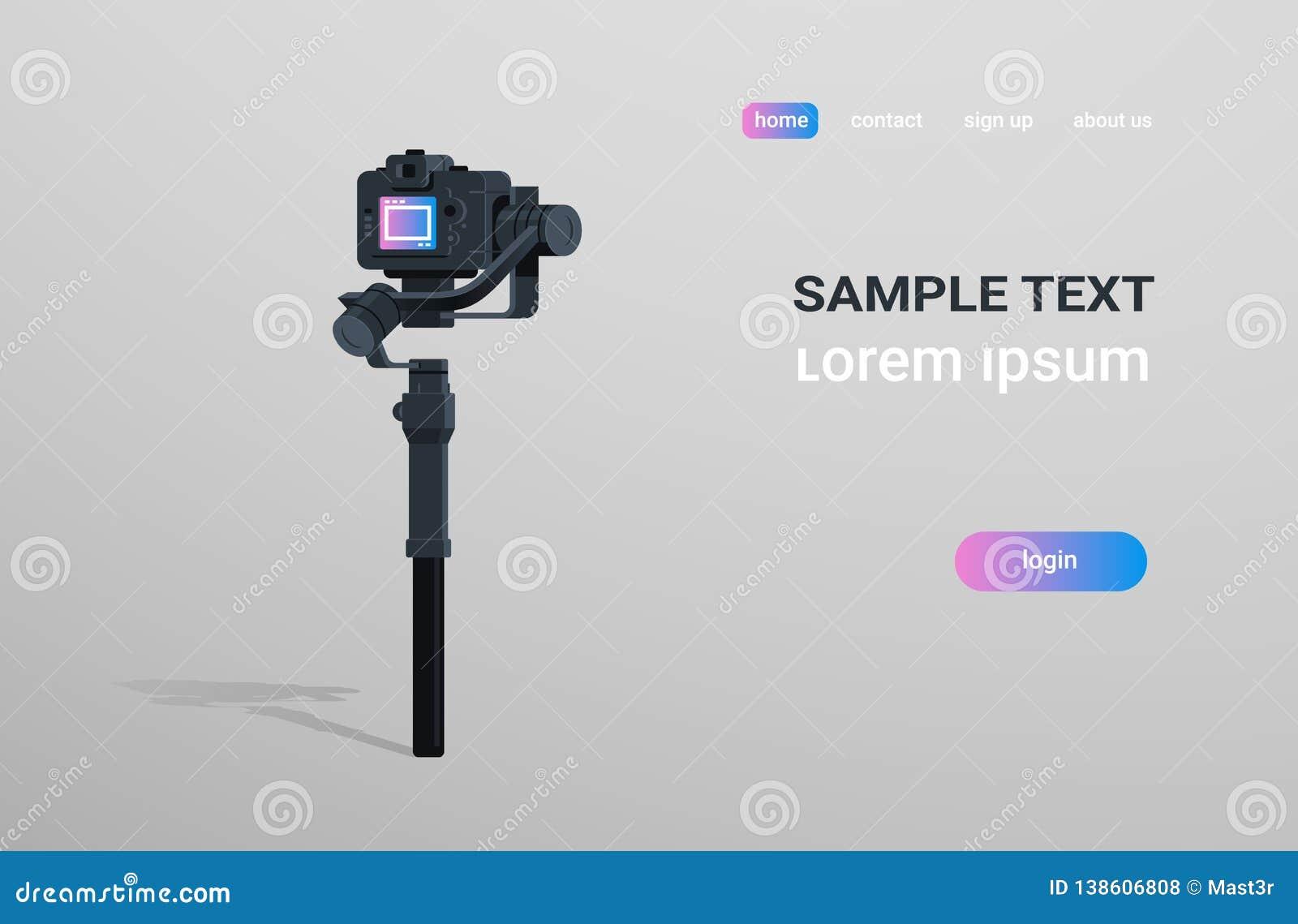 DSLR mirrorless照相机反震动工具纪录录影场面概念灰色背景的动力化的常平架安定器