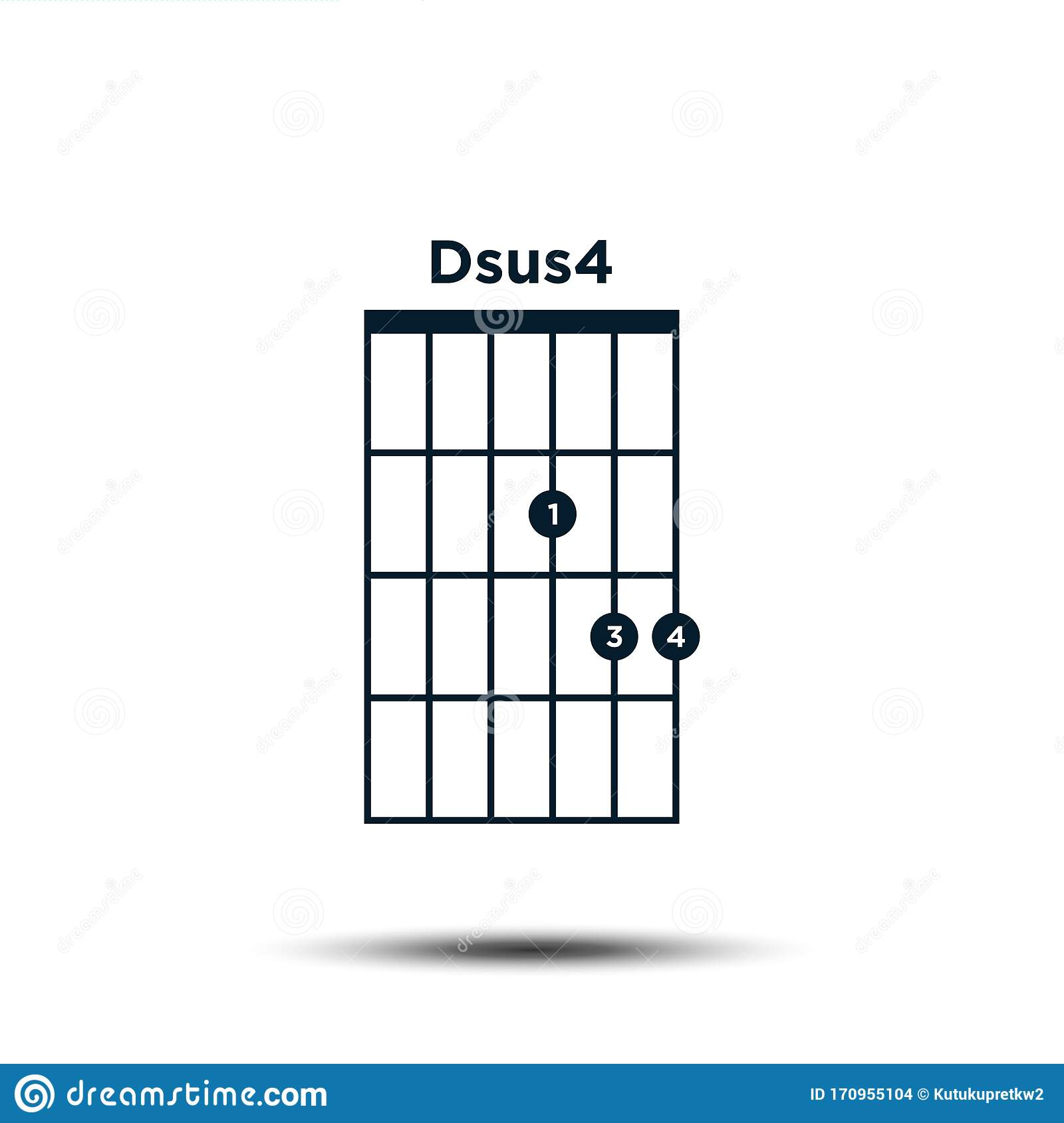 Dsus15, Basic Guitar Chord Chart Icon Vector Template Stock Vector ...