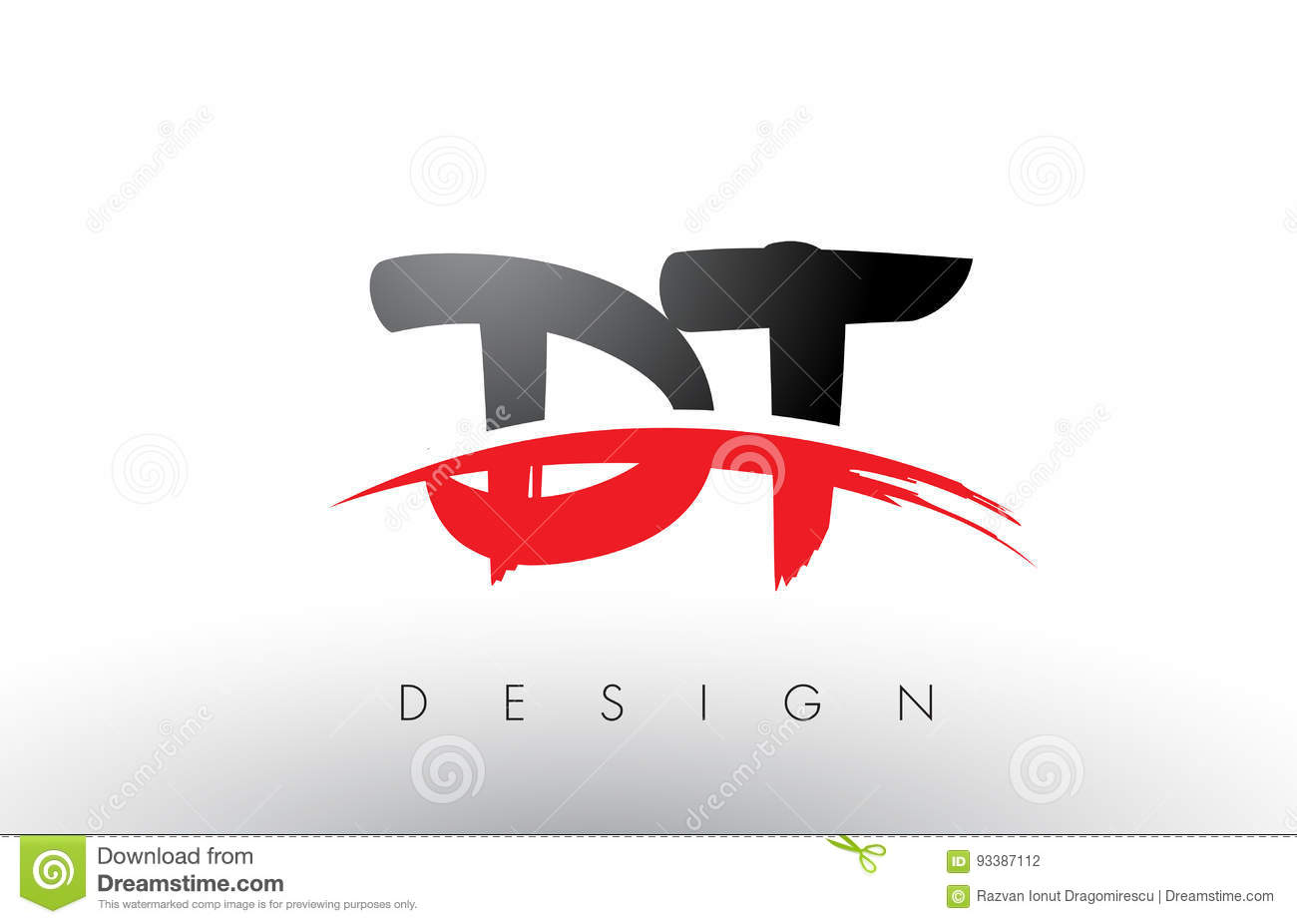 dt d t brush logo letters with red and black swoosh brush front stock illustration. Black Bedroom Furniture Sets. Home Design Ideas