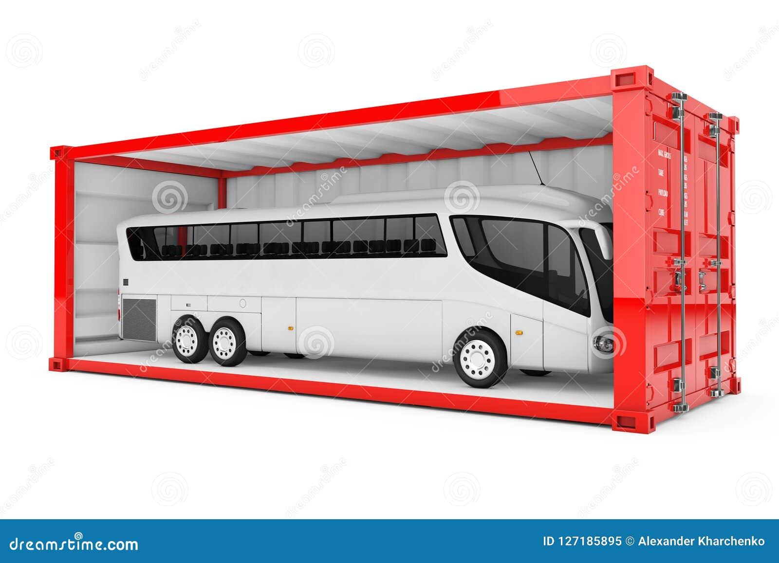 Duża bielu trenera wycieczka autobusowa w Czerwonym kontenerze z Usuwający