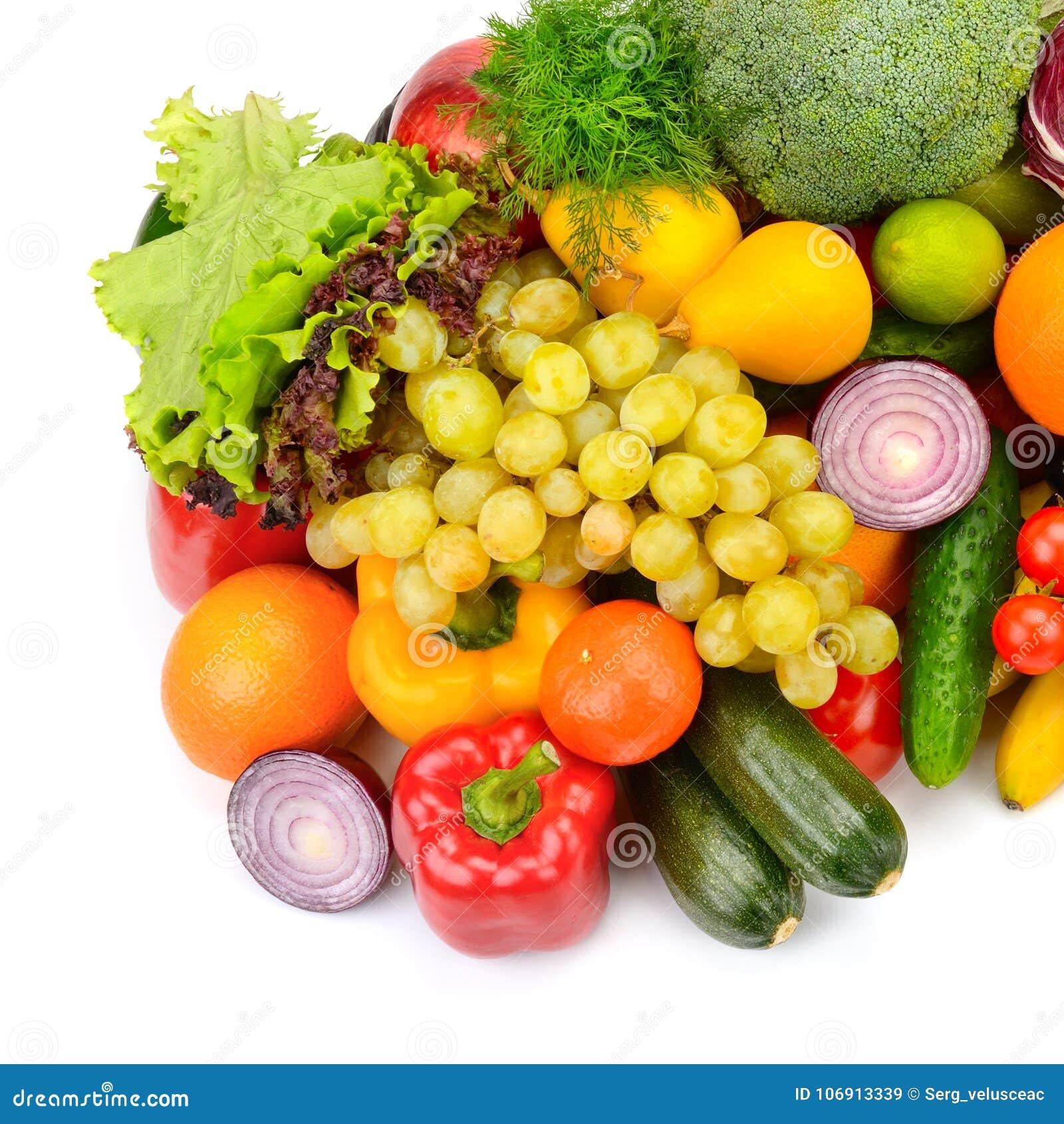 Duża kolekcja owoc i warzywo odizolowywający na białym backgr