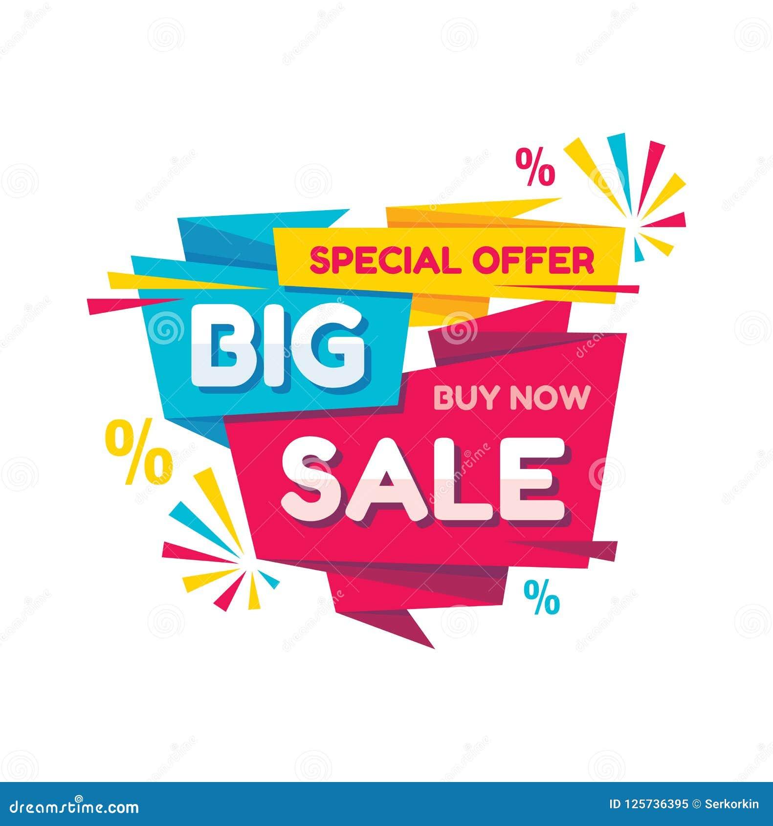 Duża sprzedaż - wektorowa kreatywnie sztandar ilustracja Abstrakcjonistycznego pojęcie rabata promocyjny układ na białym tle Spec