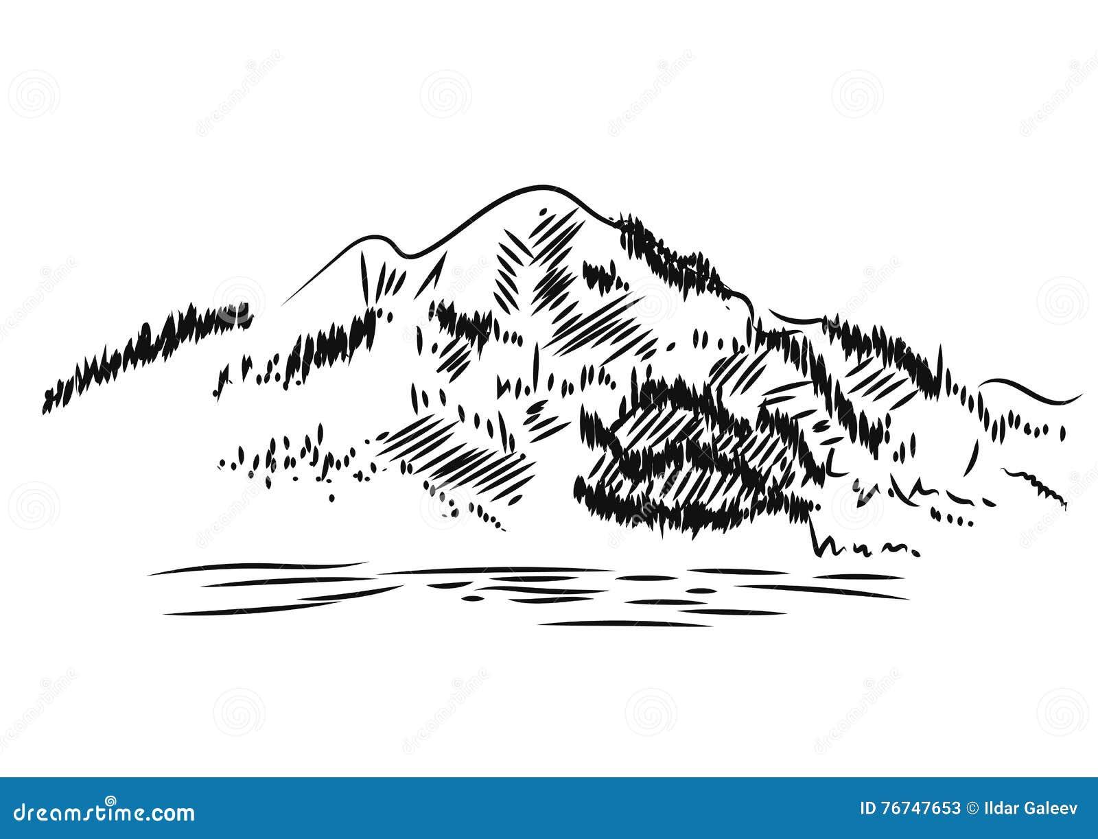 Duże krajobrazowe halne góry Ręka rysująca, wektorowa ilustracja
