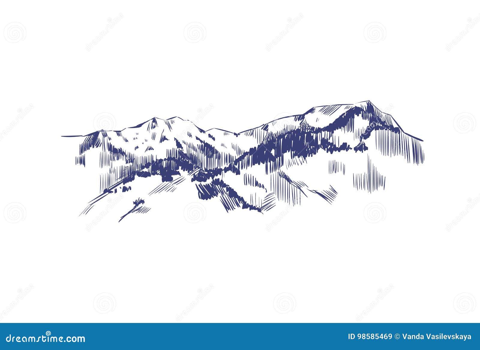 Duże krajobrazowe halne góry Wektorowa ręka rysująca ilustracja Góry w nakreślenie stylu