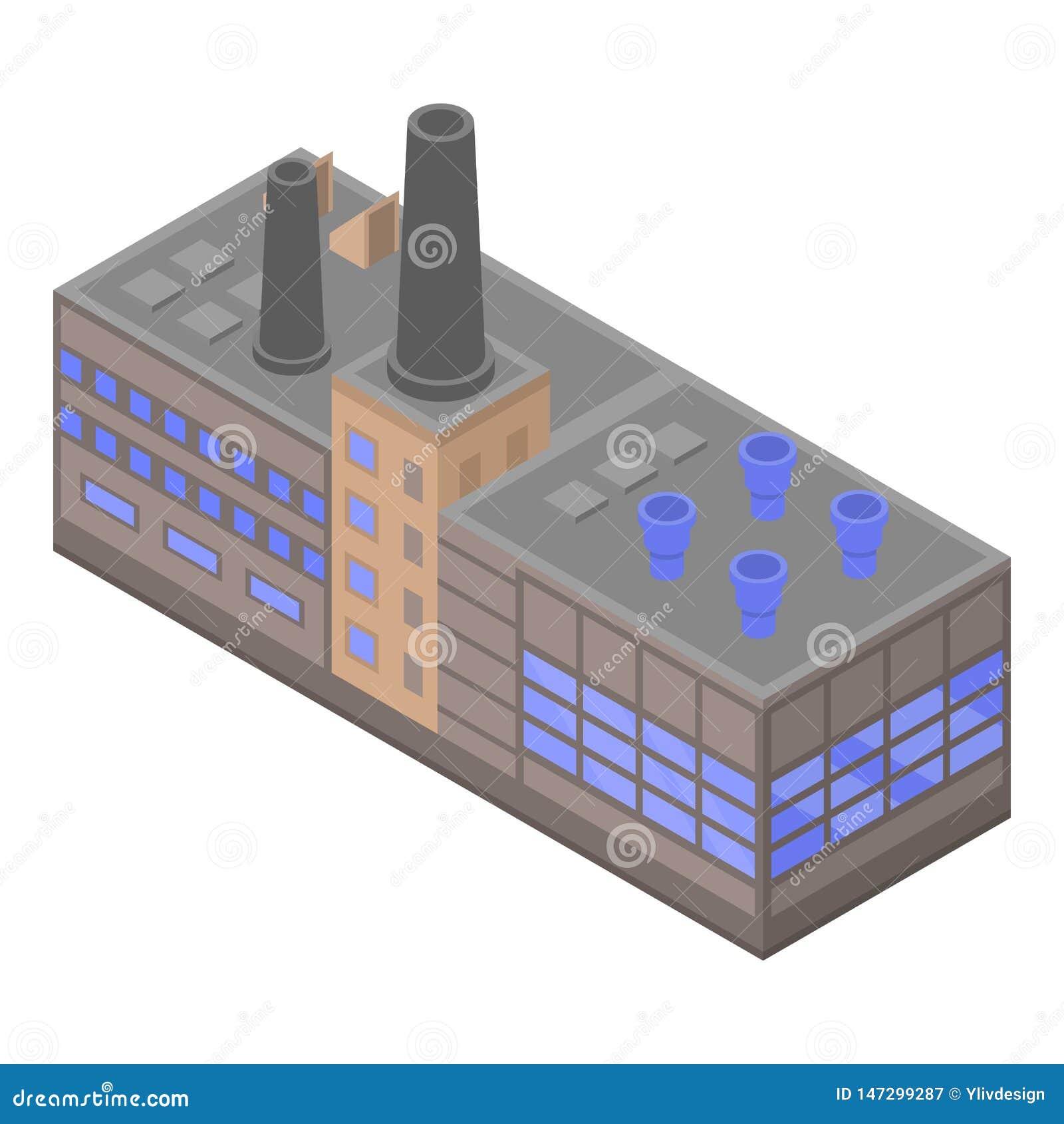 Dużej rafinerii fabryczna ikona, isometric styl