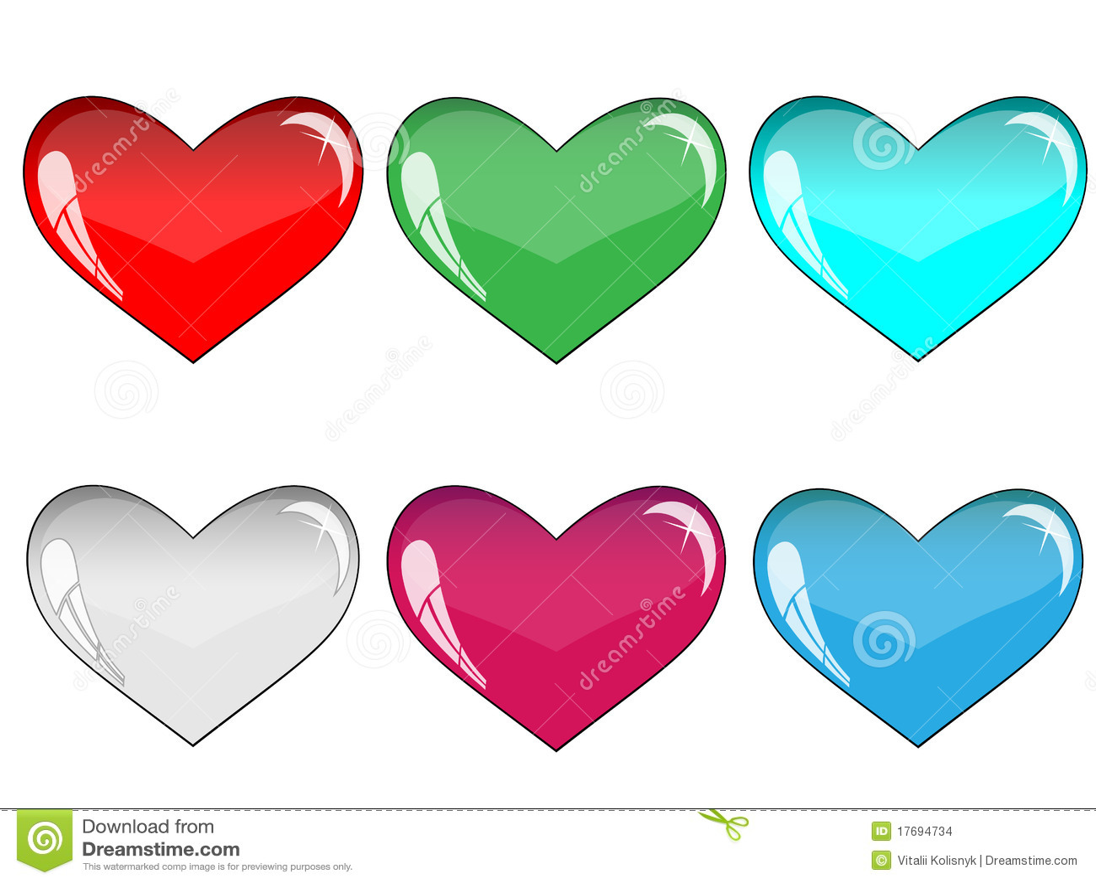 Dużo szklani serca dużo