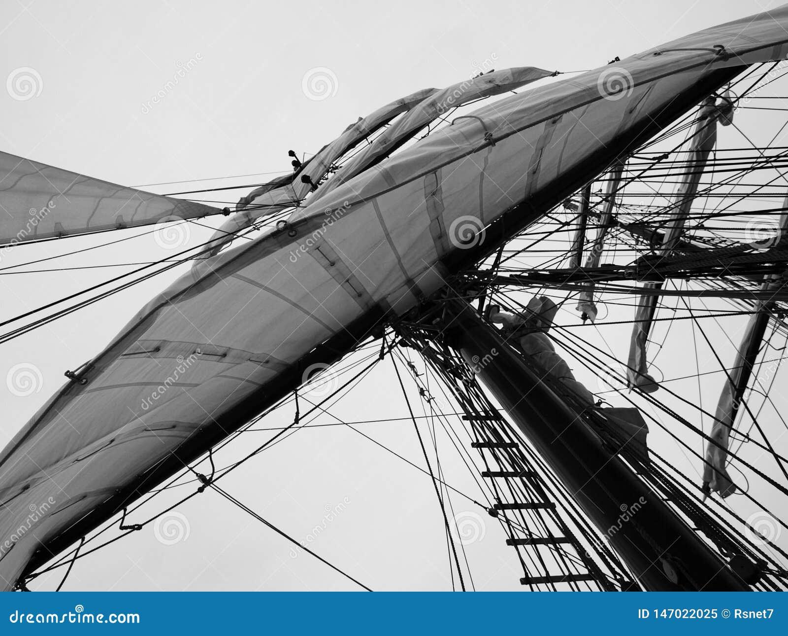 Duży biały żagiel statek