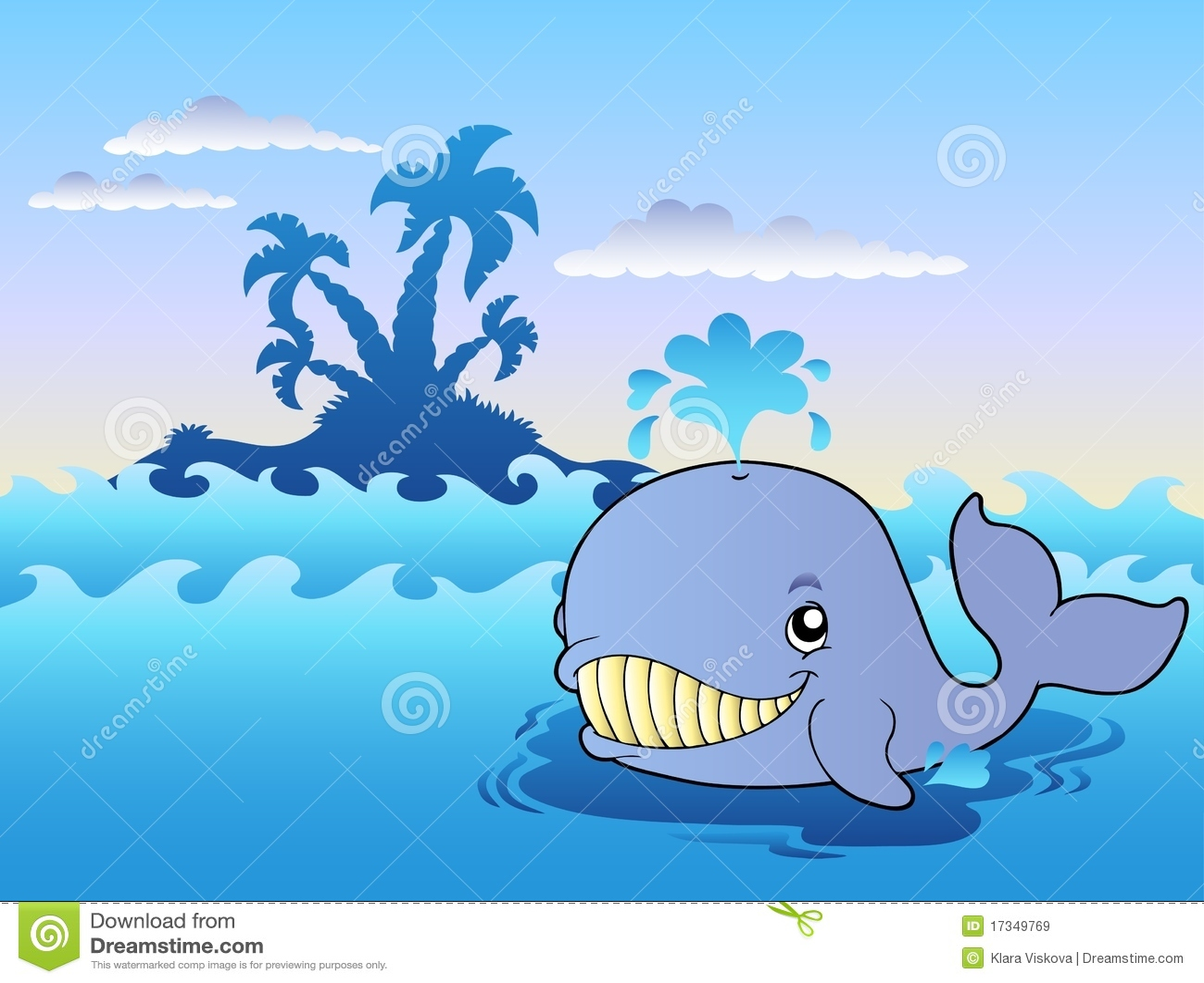 Duży kreskówki morza wieloryb