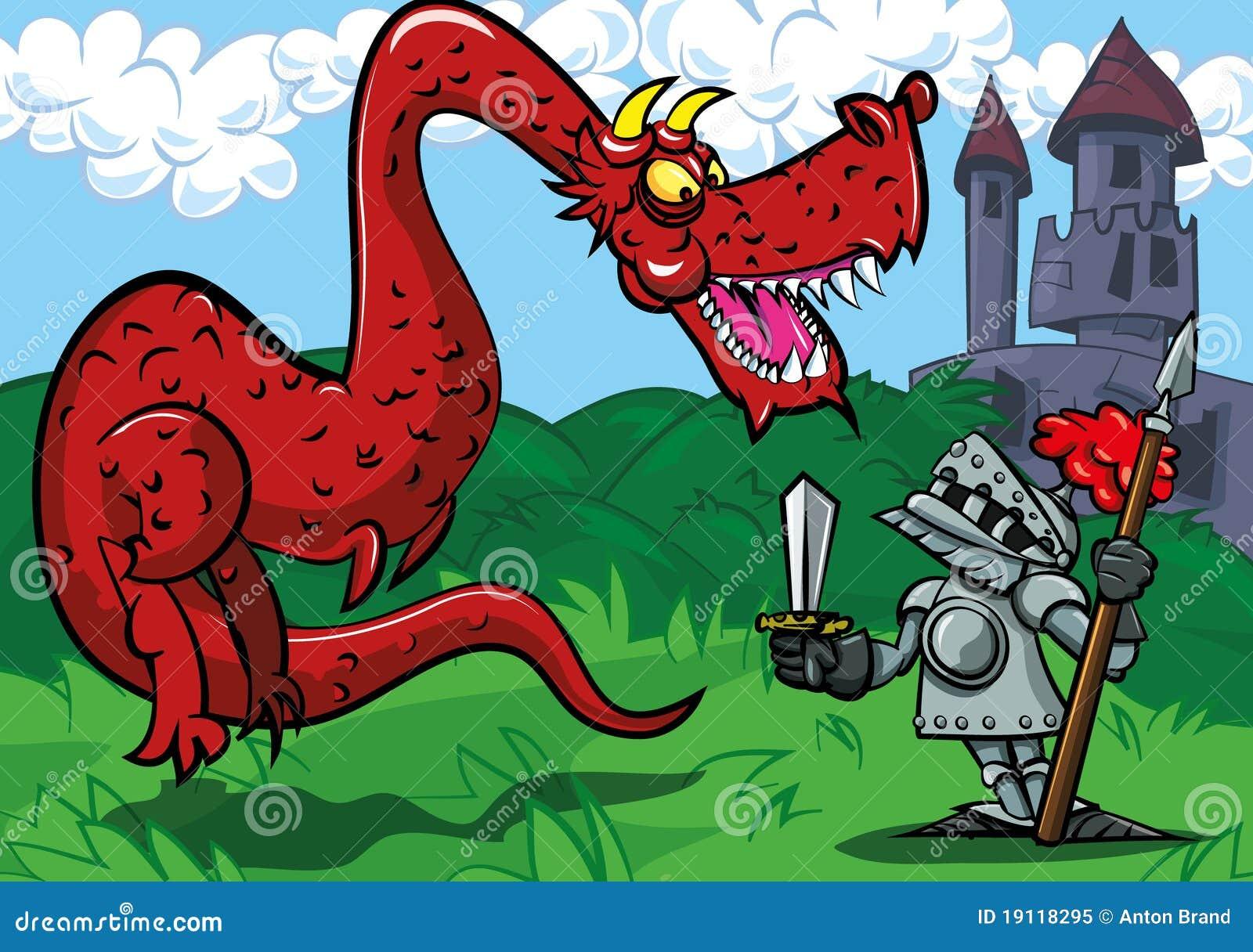 Duży kreskówki smoka obszycia rycerza czerwień