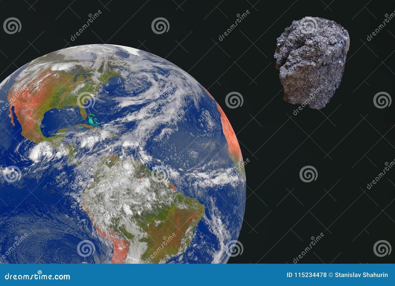 Duży meteor przewodzi dla ziemi Meteoryt przeciw ziemskiemu ` s tłu