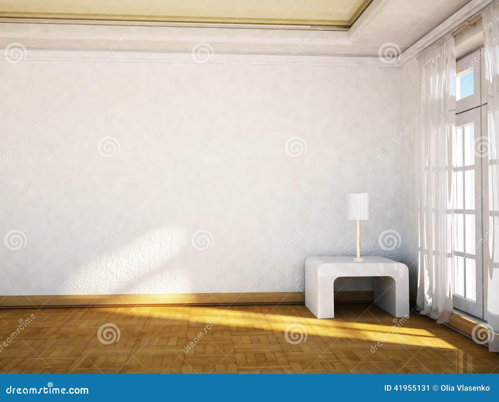 Duży okno i lampa na stole