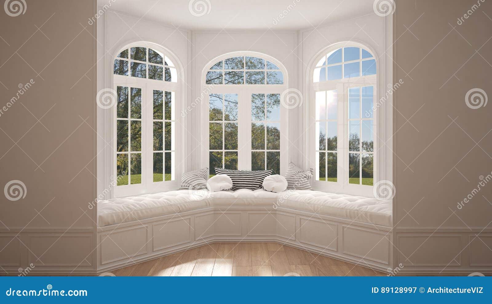 Duży okno z ogrodową łąkową panoramą, minimalista pusta przestrzeń,