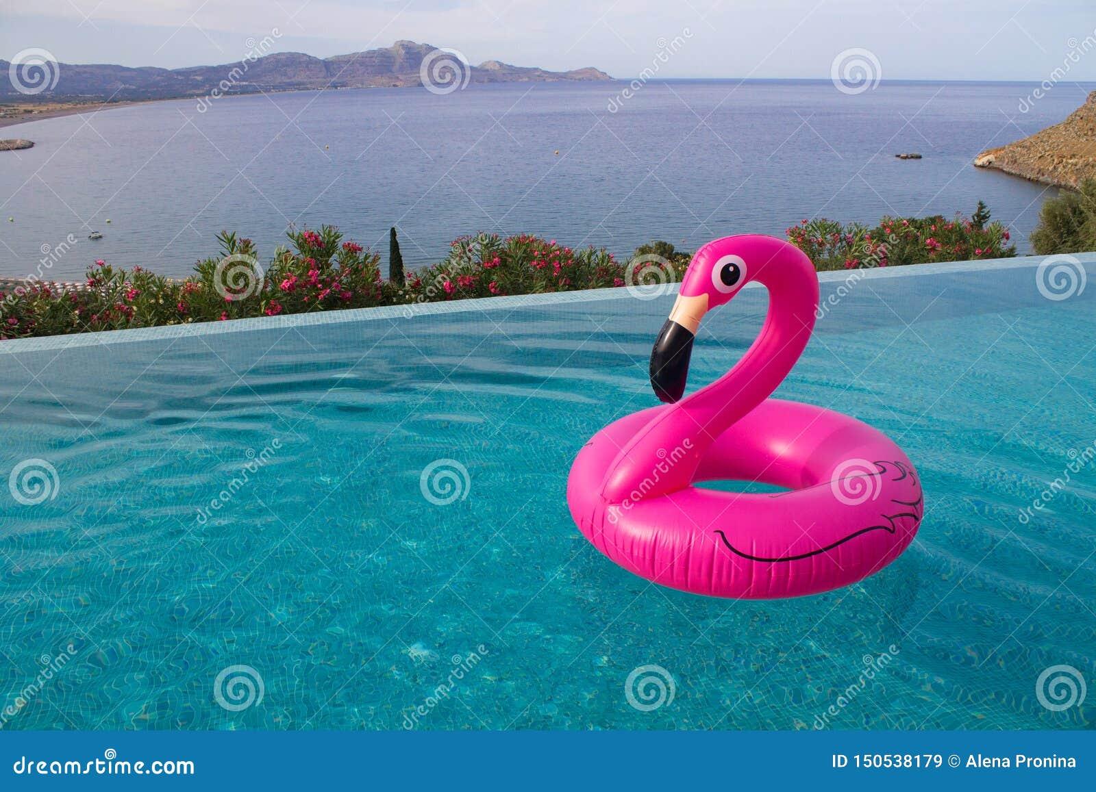 Duży różowy flaming dla sweeming w basenie z dennym widokiem