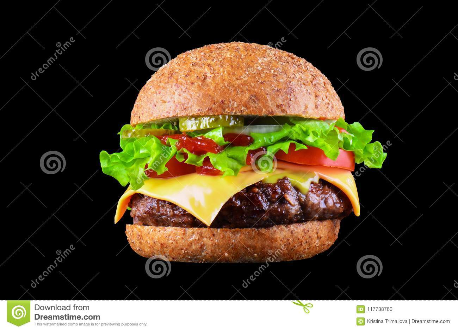 Duży smakowity cheeseburger lub, ser, pomidor, bekon, cebula hamburger