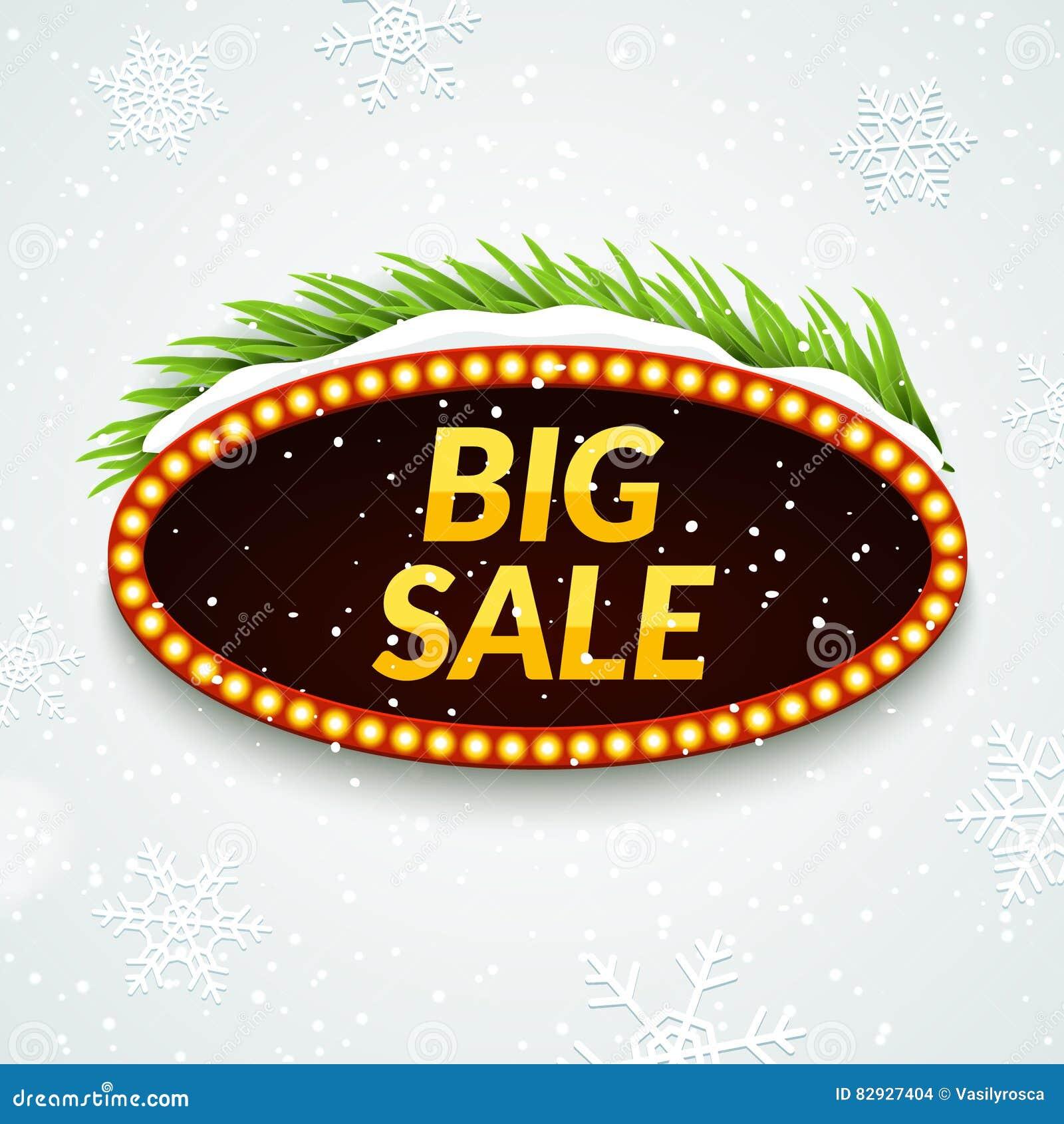 Duży sprzedaży zimy sprzedaży znaka projekta szablon Xmas sezonu odprawy rabat