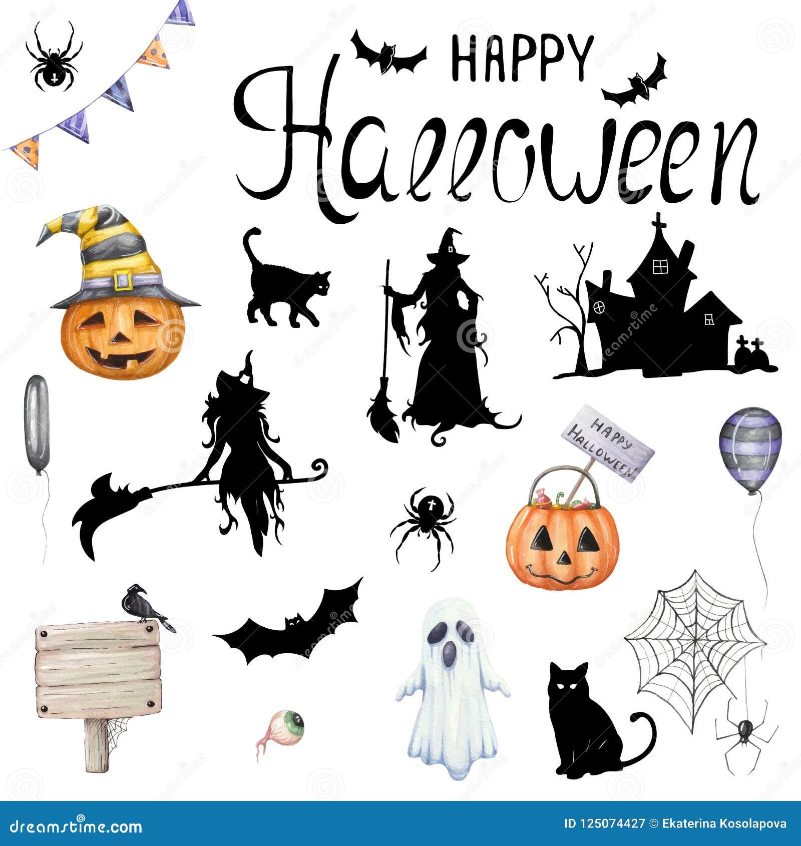Duży wektorowy ustawiający ilustracje dla Halloween