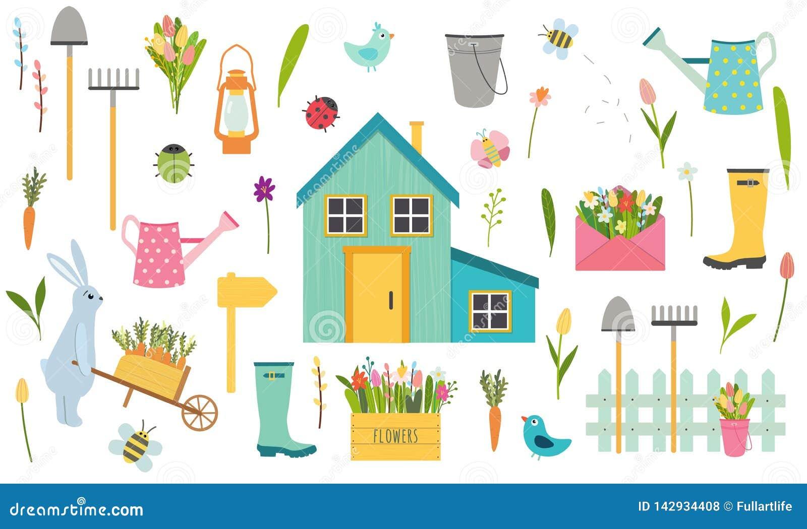 Duży wektorowy ustawiający wiosna i Easter wakacje elementy