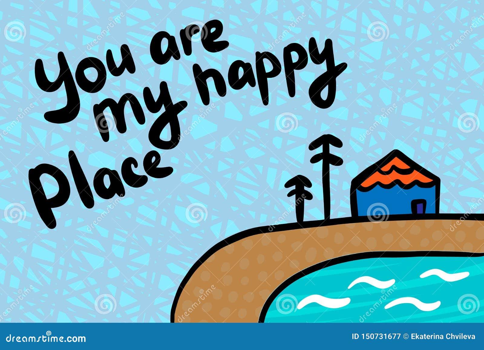 Du är min illustration för vektorn för den lyckliga ställehanden utdragna i tecknad filmstil Hus sjön sörjer träd