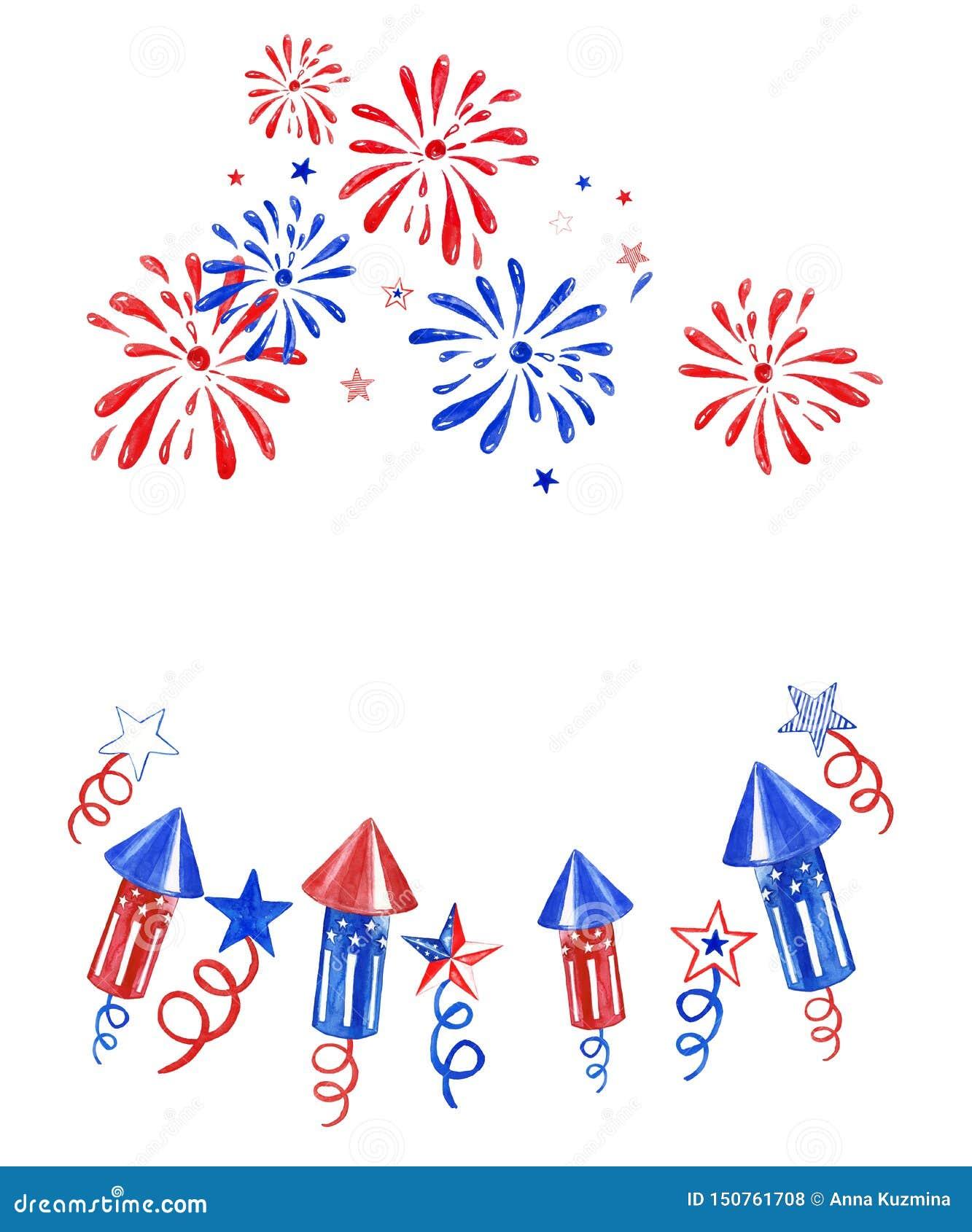 Du quatrième bannière juillet avec des feux d artifice et des saluts sur le fond blanc Illustration de Jour de la Déclaration d I