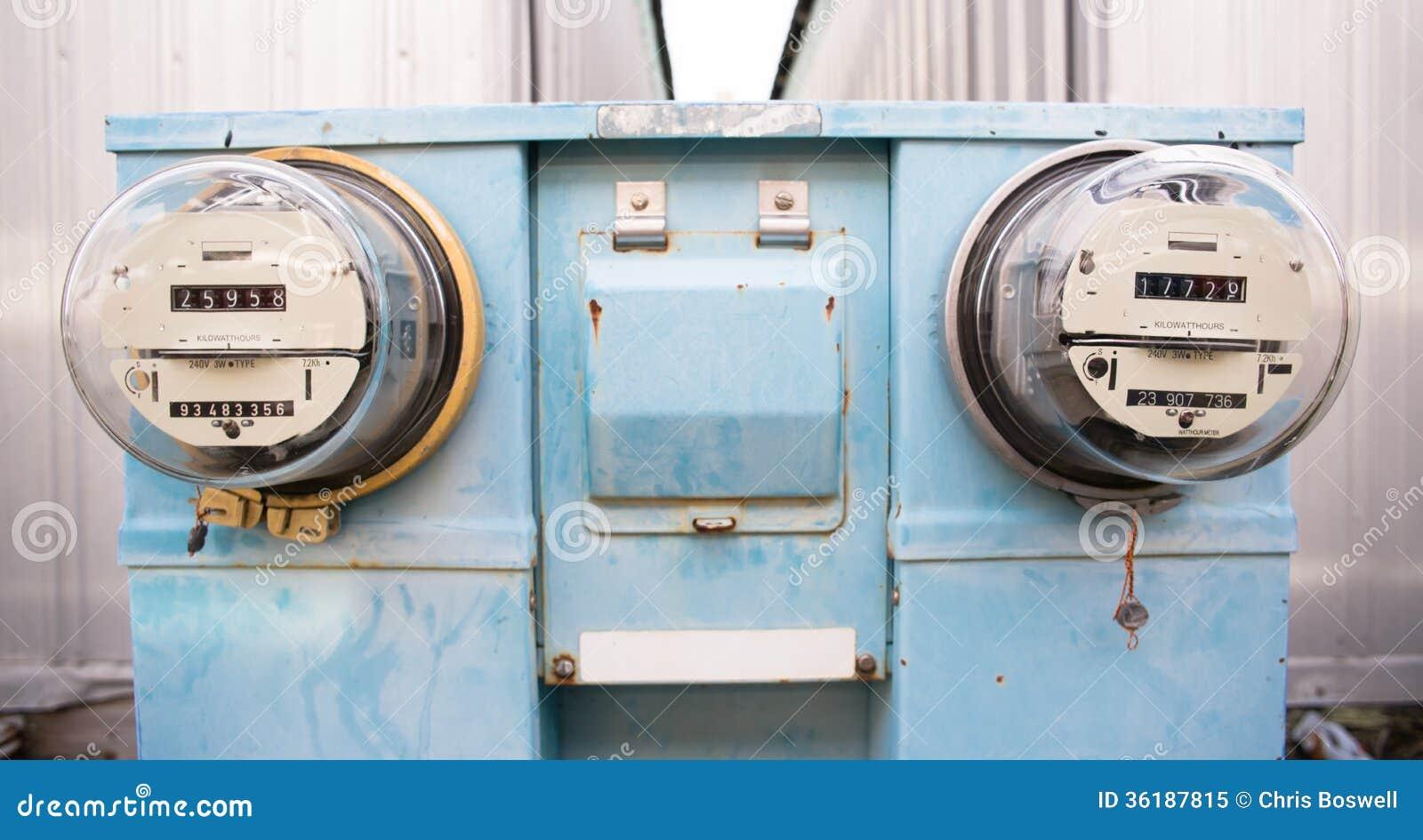 Electric Hour Meters : Dual glass dome watt hour electric utility meters dock