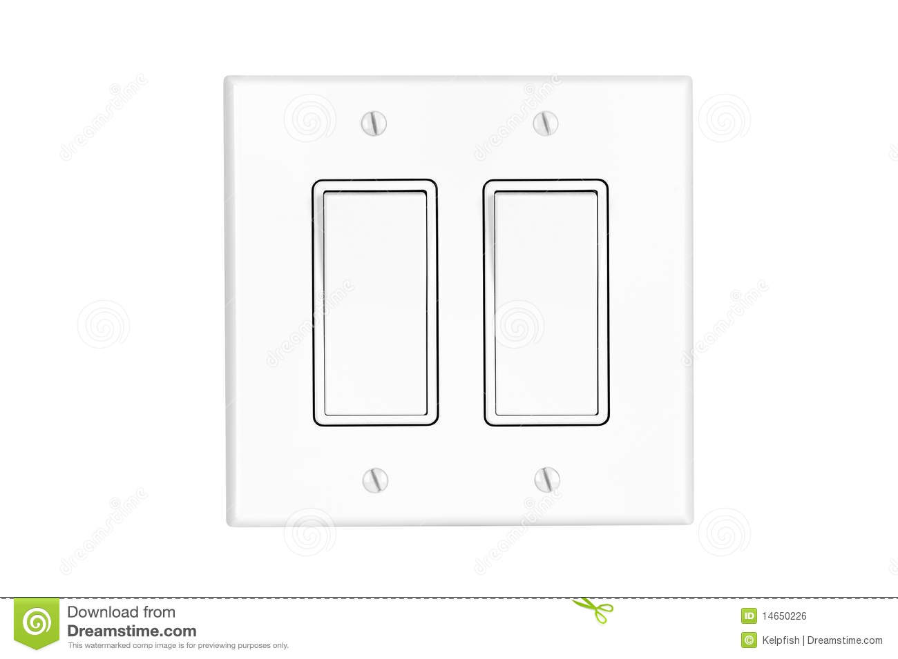 Dual light switch on white stock photo. Image of supply - 14650226
