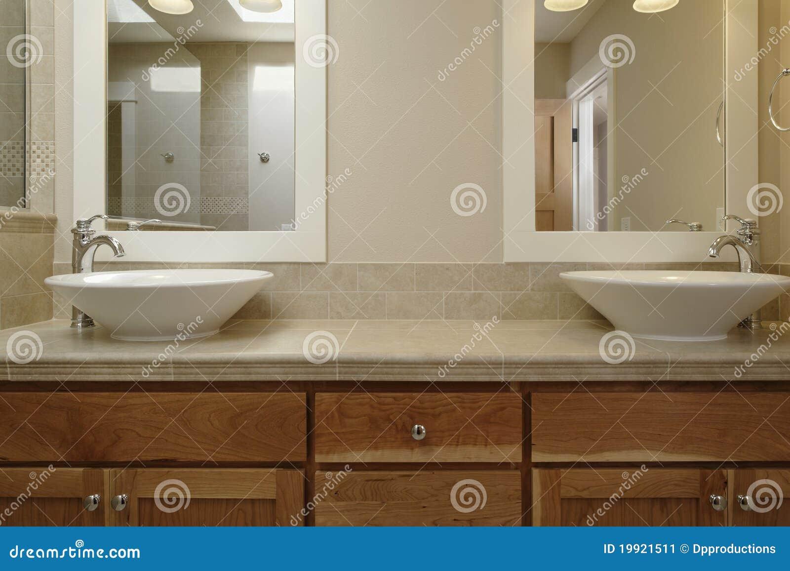 Dual Vessel Sink Vanity Stock Image Image Of Interior 19921511